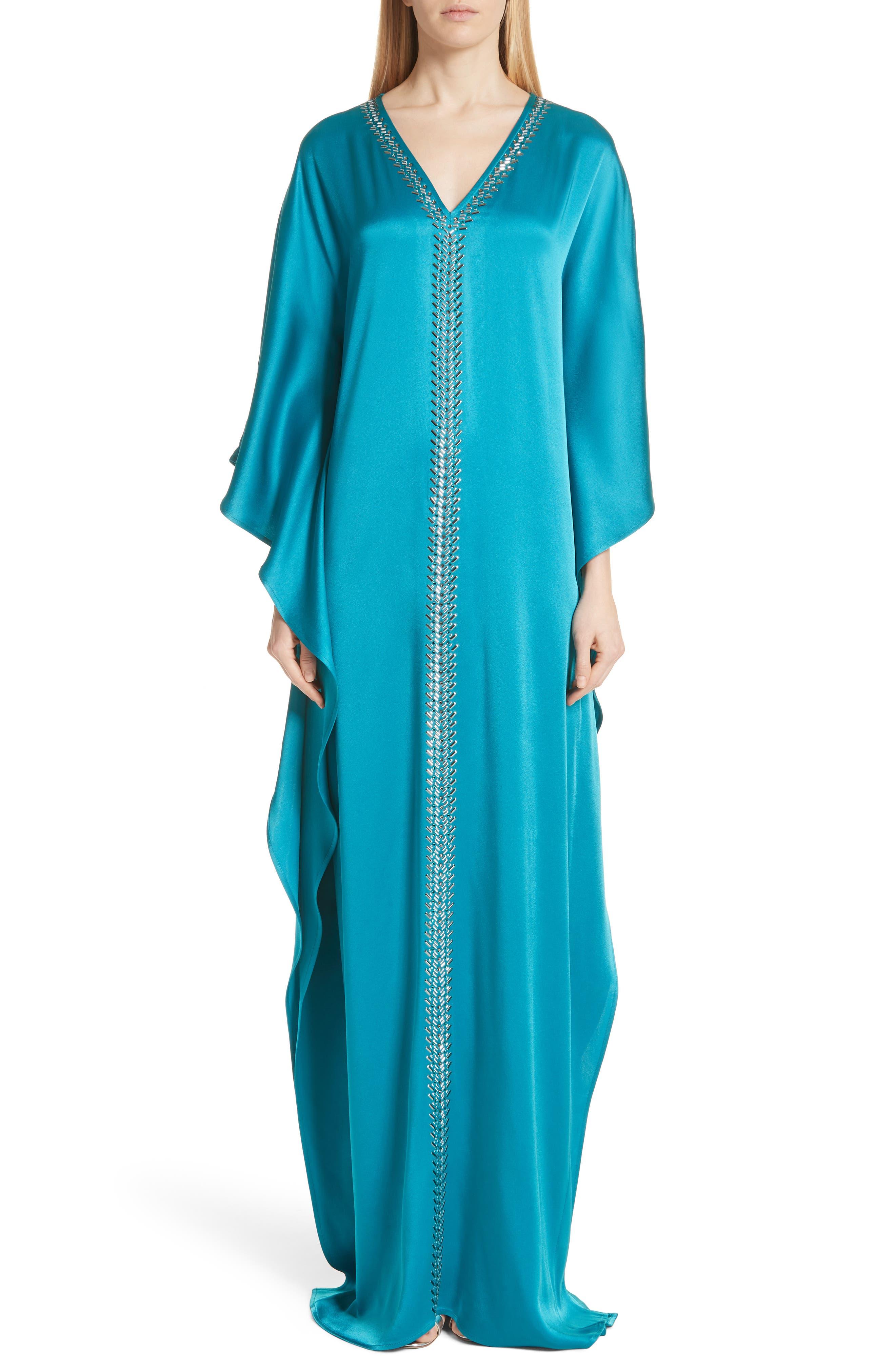 Liquid Crepe Kaftan Gown,                         Main,                         color, CERULEAN
