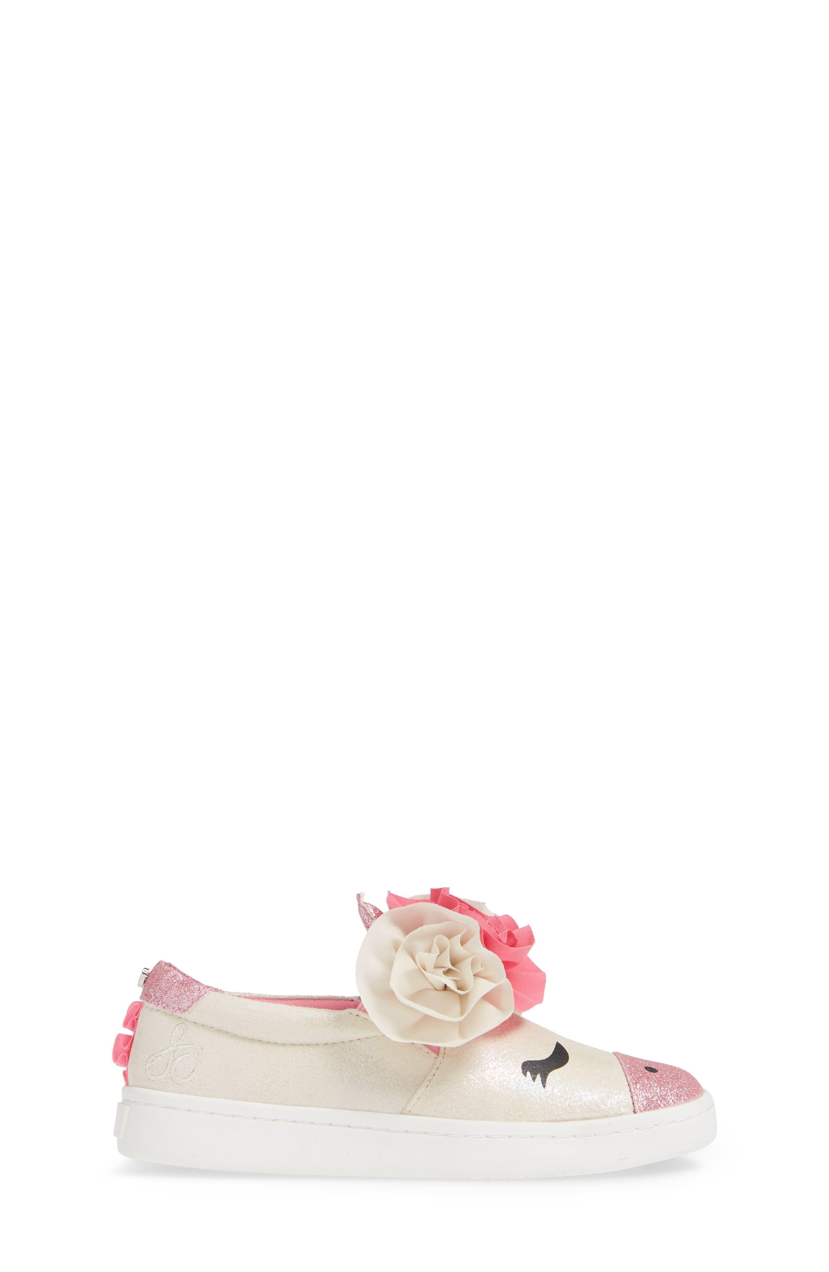 Blane Unicorn Slip-On Sneaker,                             Alternate thumbnail 3, color,                             WHITE SHIMMER