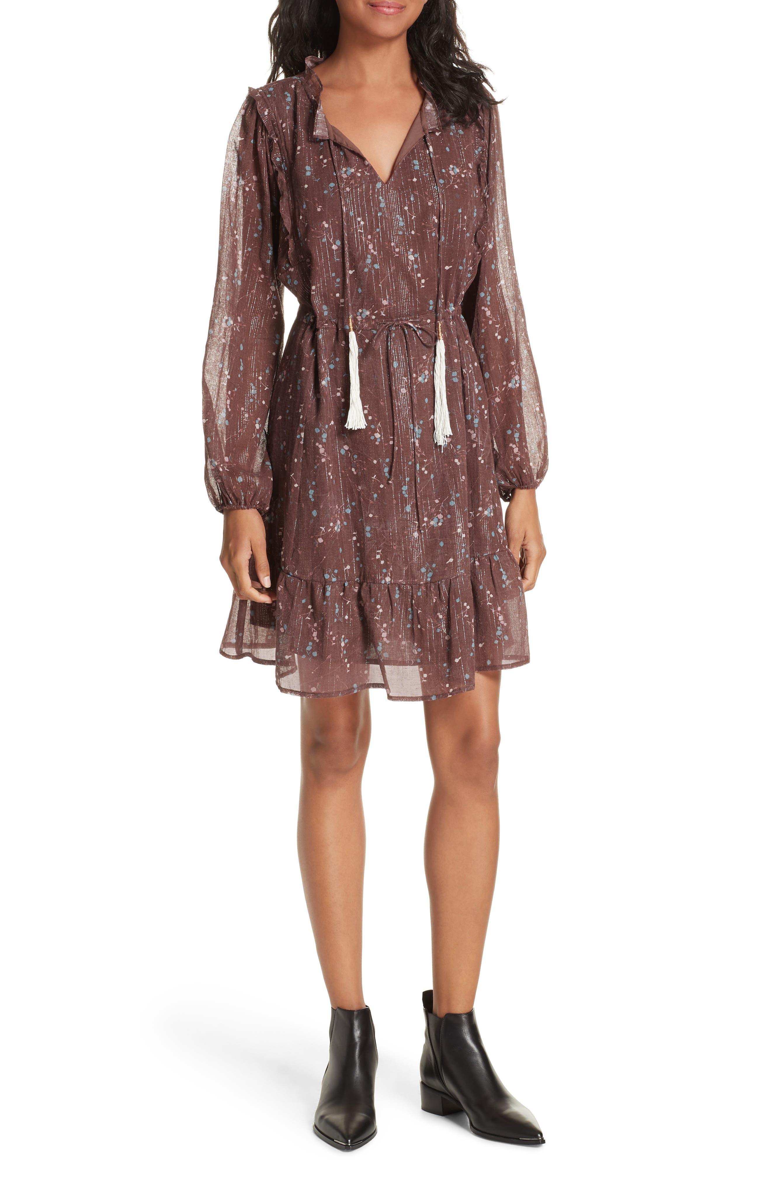 Ruffled Drawstring Waist Dress,                             Alternate thumbnail 6, color,                             BROWN PLUM BLOSSOM