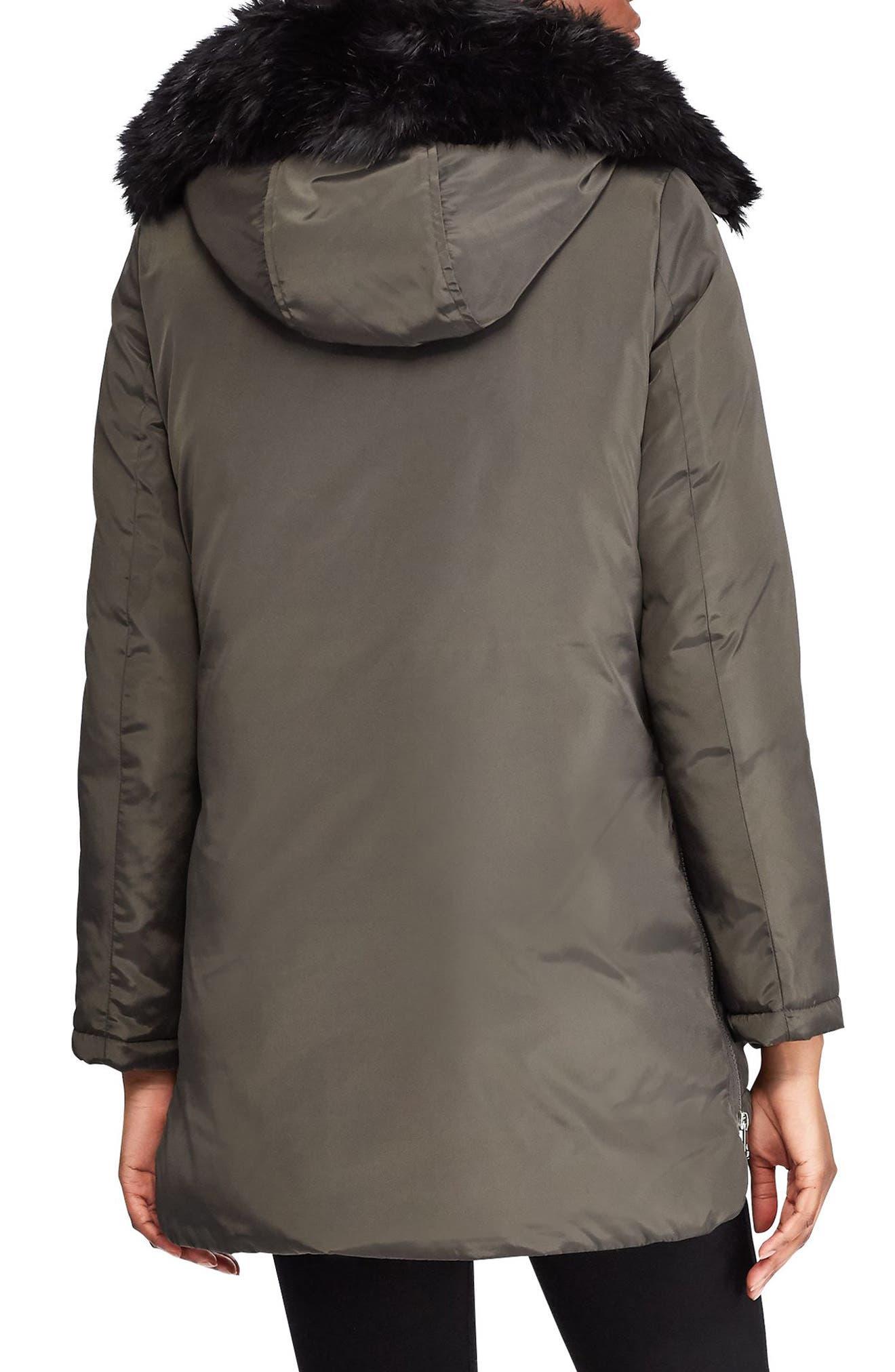 Faux Fur Trim Hooded Coat,                             Alternate thumbnail 2, color,                             DARK MOSS