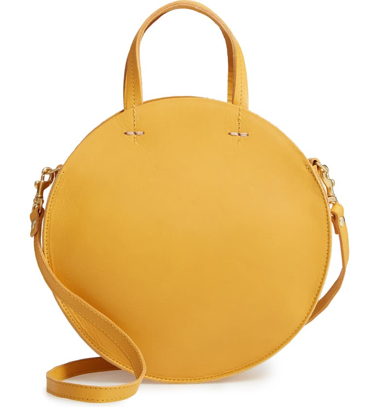 Clare V PETIT ALISTAIR LEATHER CIRCULAR CROSSBODY BAG - YELLOW