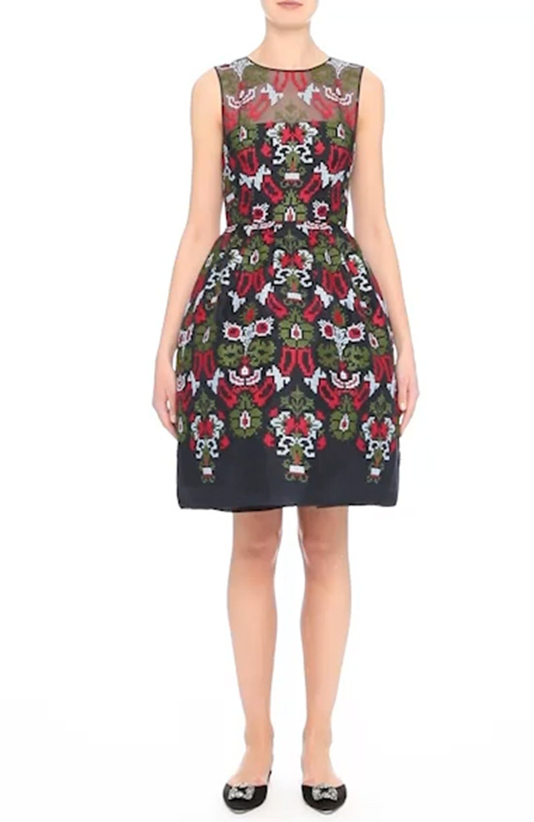 Needlepoint Fit & Flare Dress,                             Alternate thumbnail 7, color,                             465