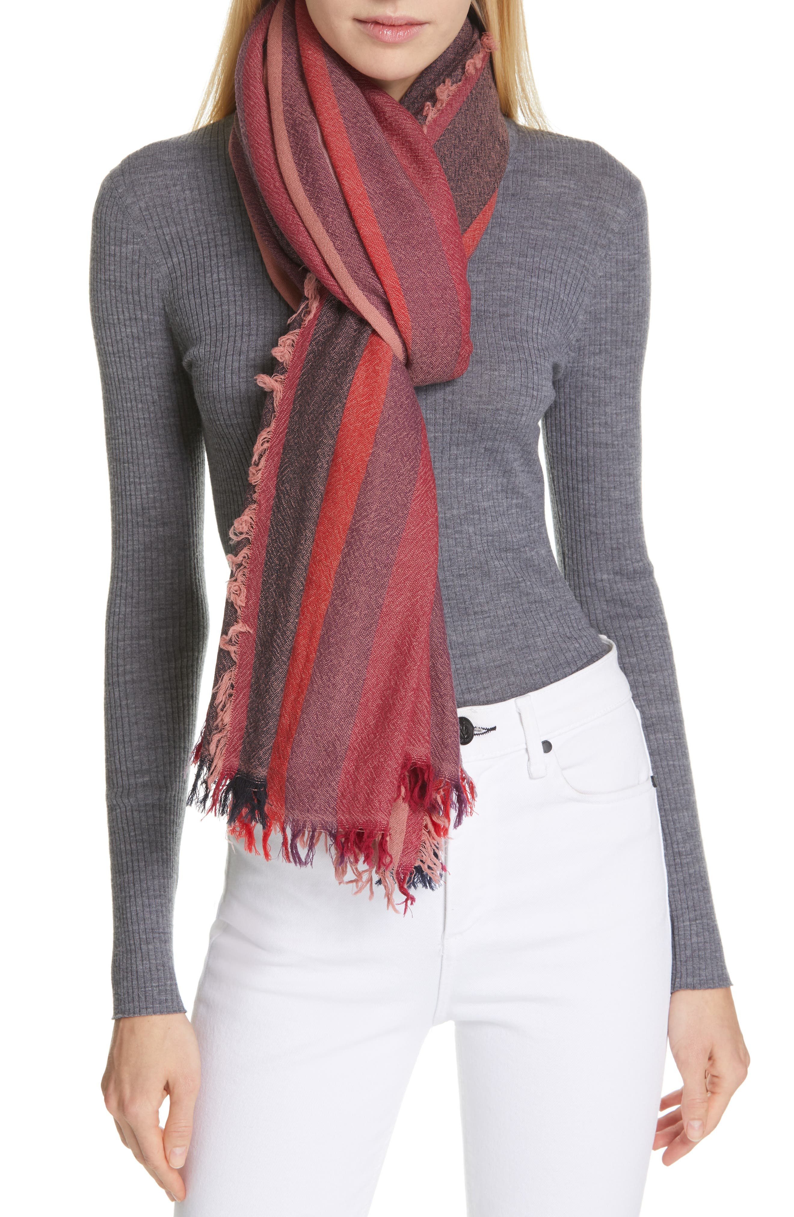 Nassau Wool Scarf, Main, color, BERRY