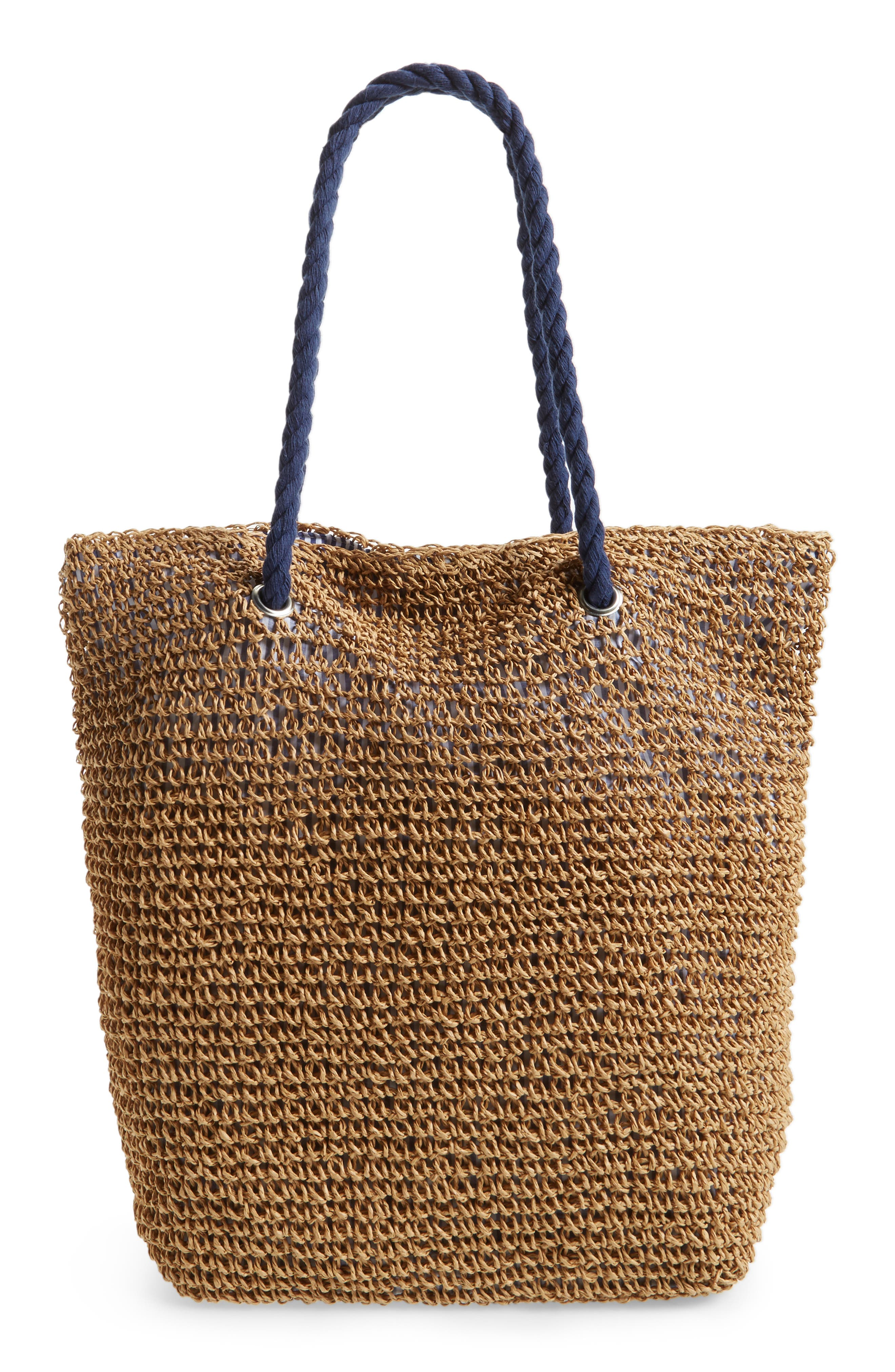 Rope & Straw Tote,                         Main,                         color, 200