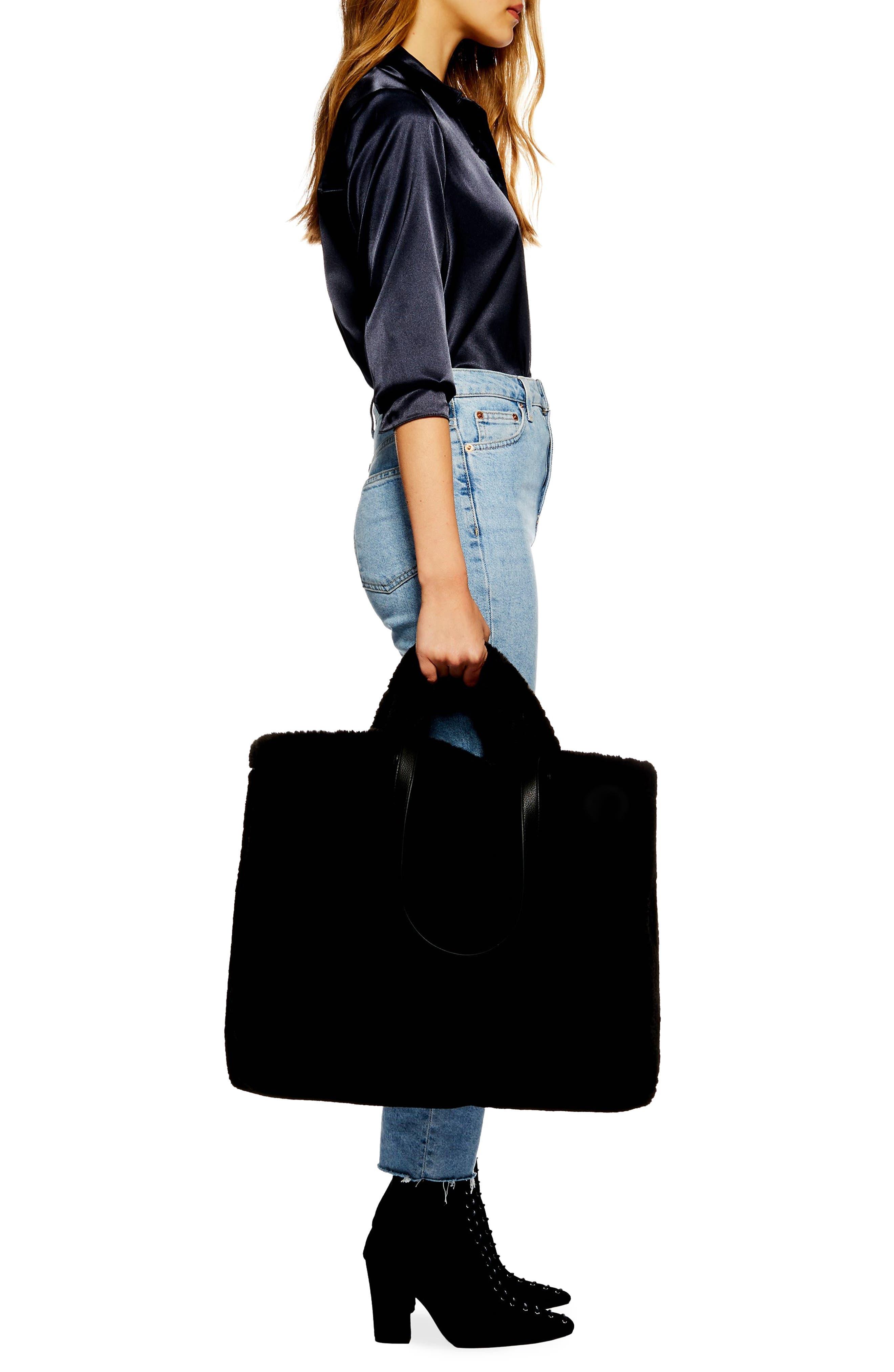Finley Reversible Faux Fur Tote Bag,                             Alternate thumbnail 3, color,                             BLACK