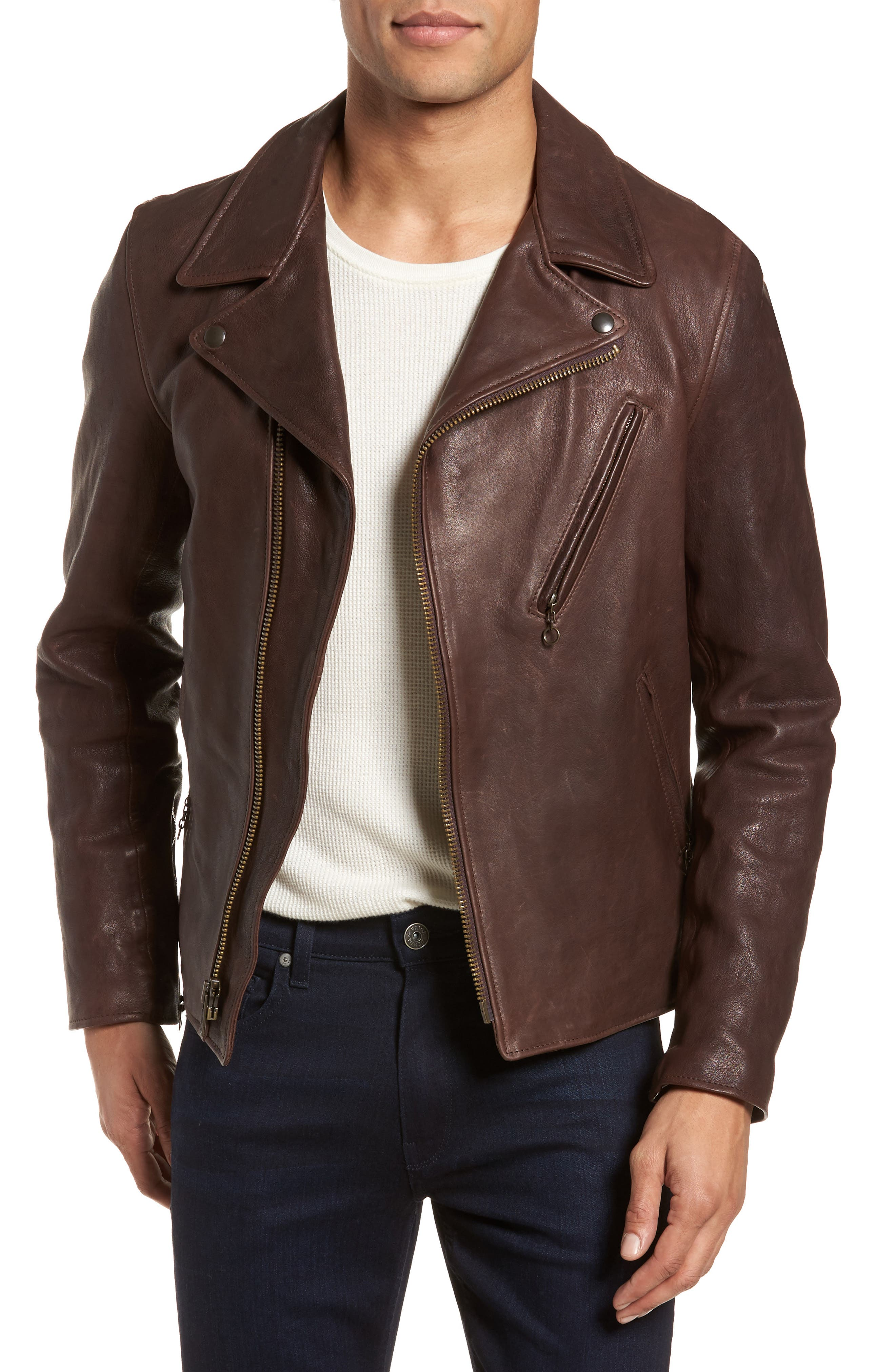 Leather Moto Jacket,                         Main,                         color, BROWN