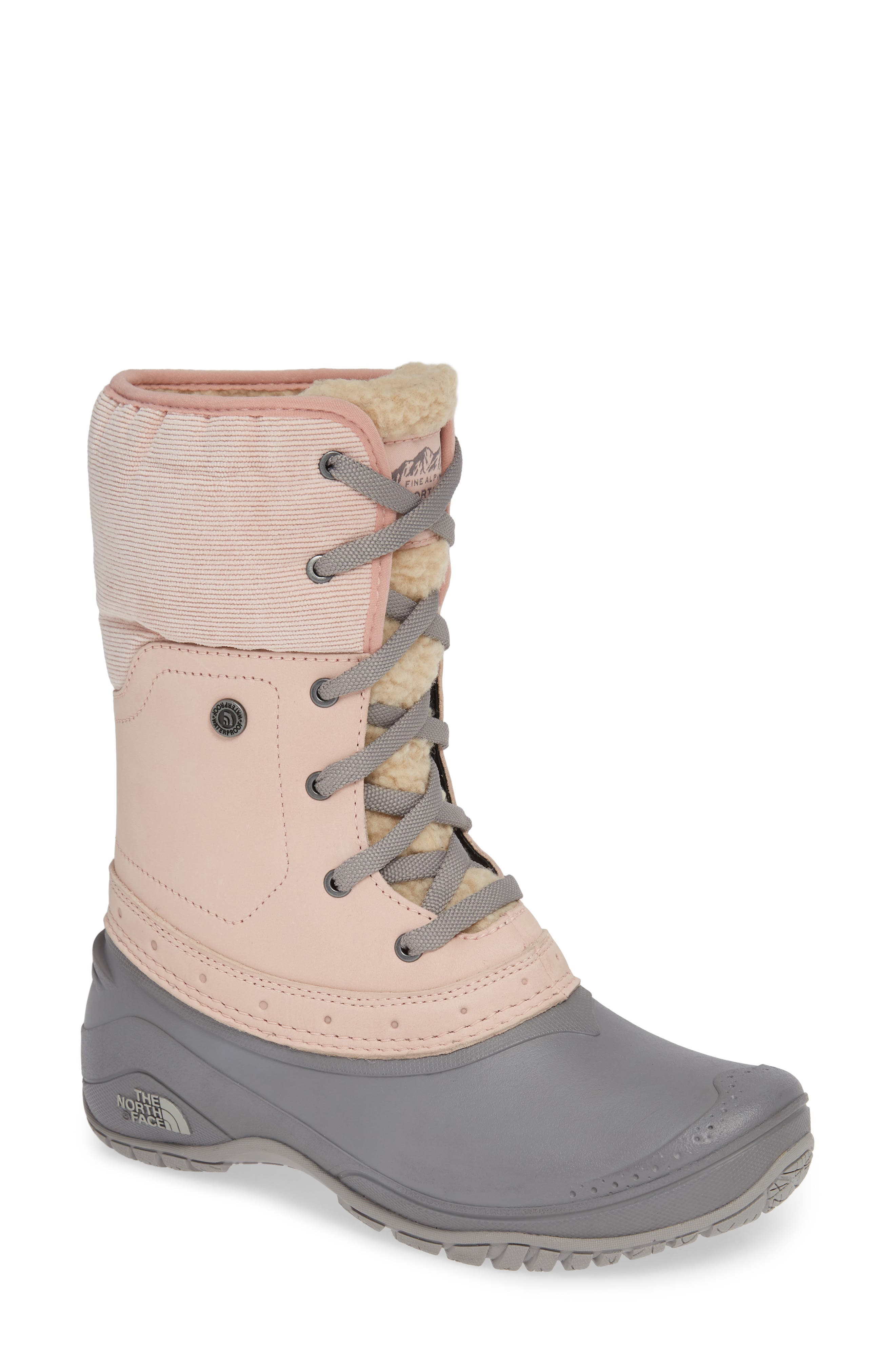 Shellista Roll Cuff Waterproof Insulated Winter Boot, Main, color, MISTY ROSE/ Q-SILVER GREY