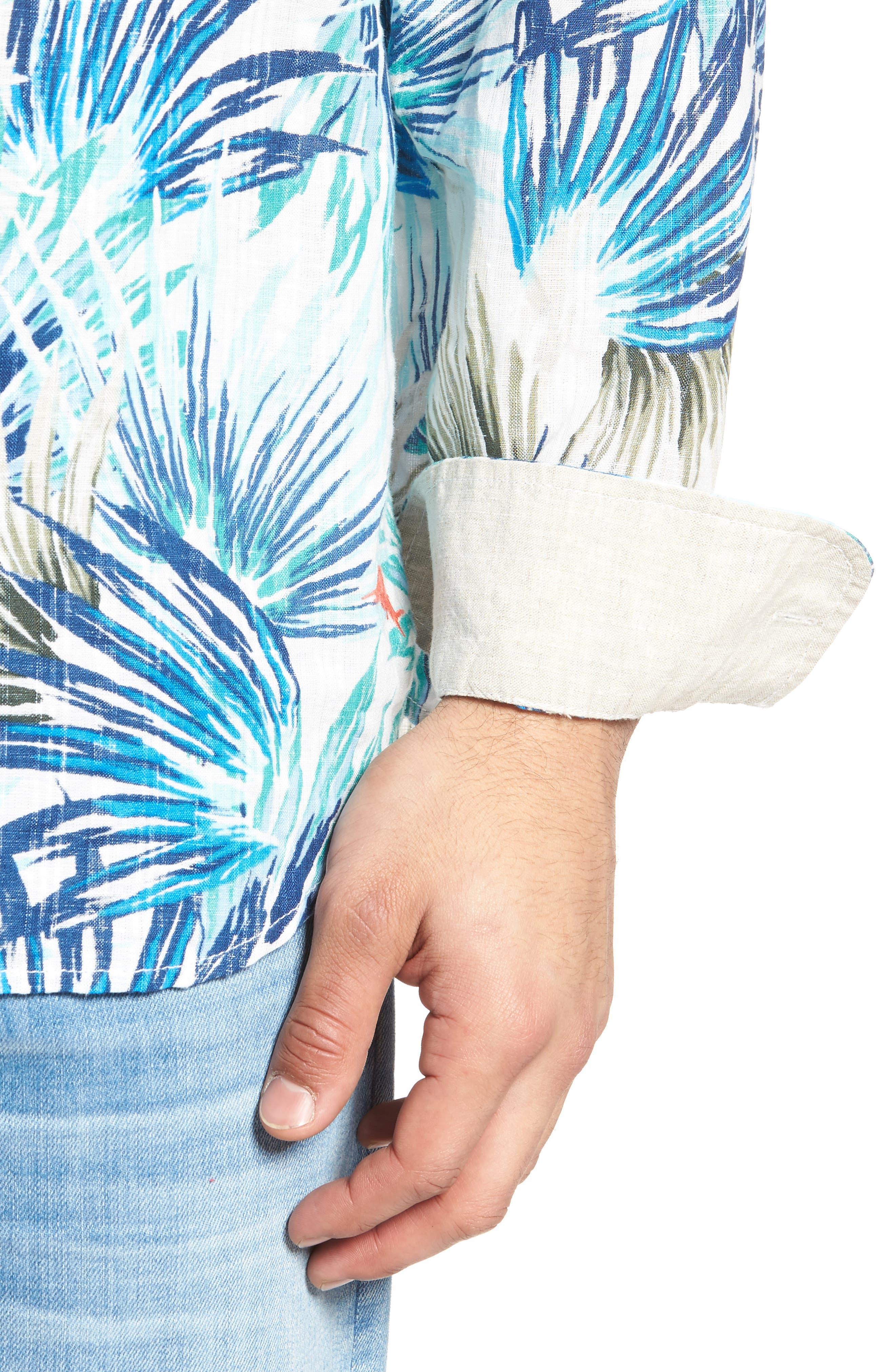 Prism Palms Linen Blend Sport Shirt,                             Alternate thumbnail 4, color,                             400