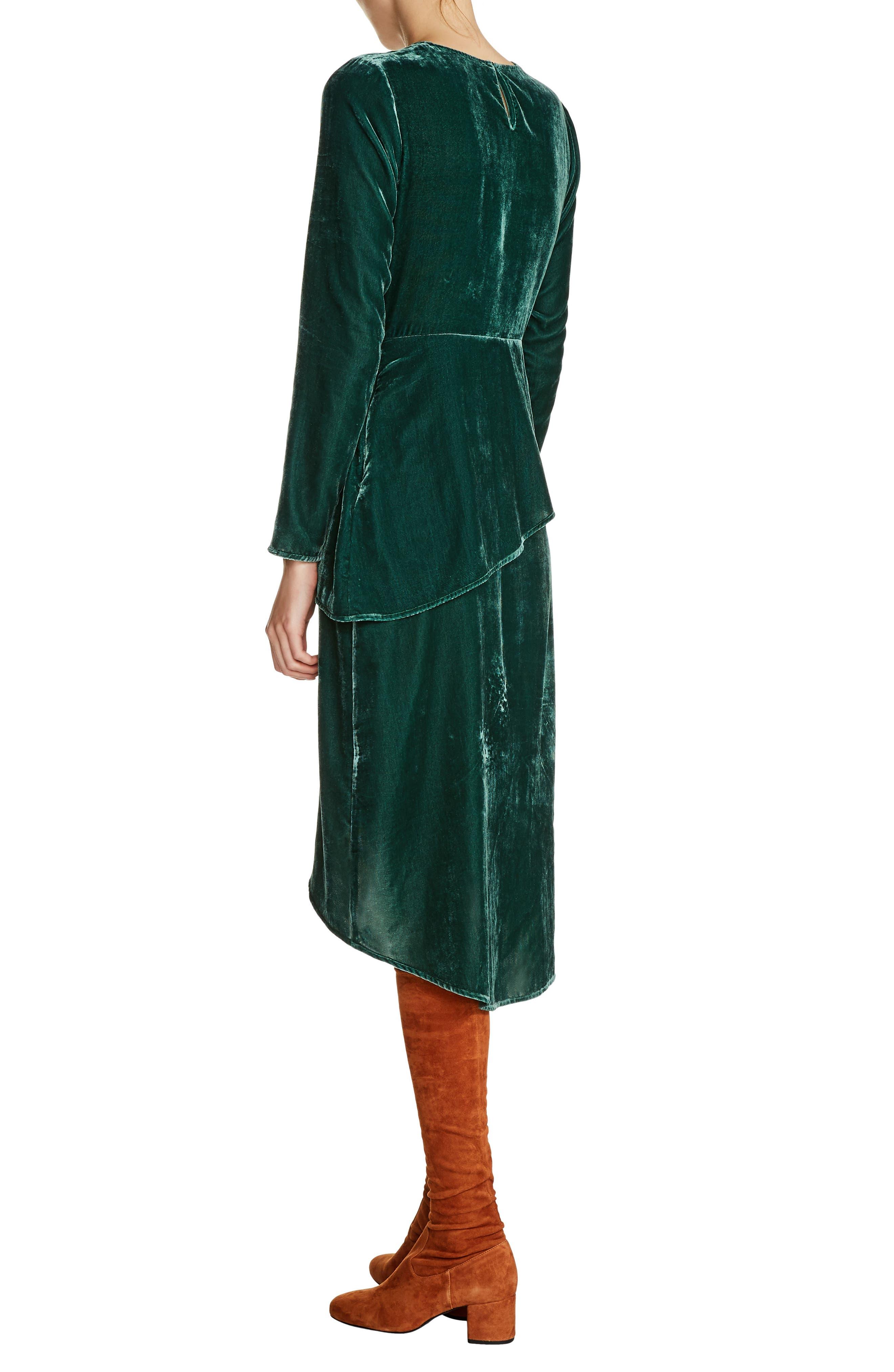 Elliptical Hem Velvet Peplum Dress,                             Alternate thumbnail 2, color,                             300