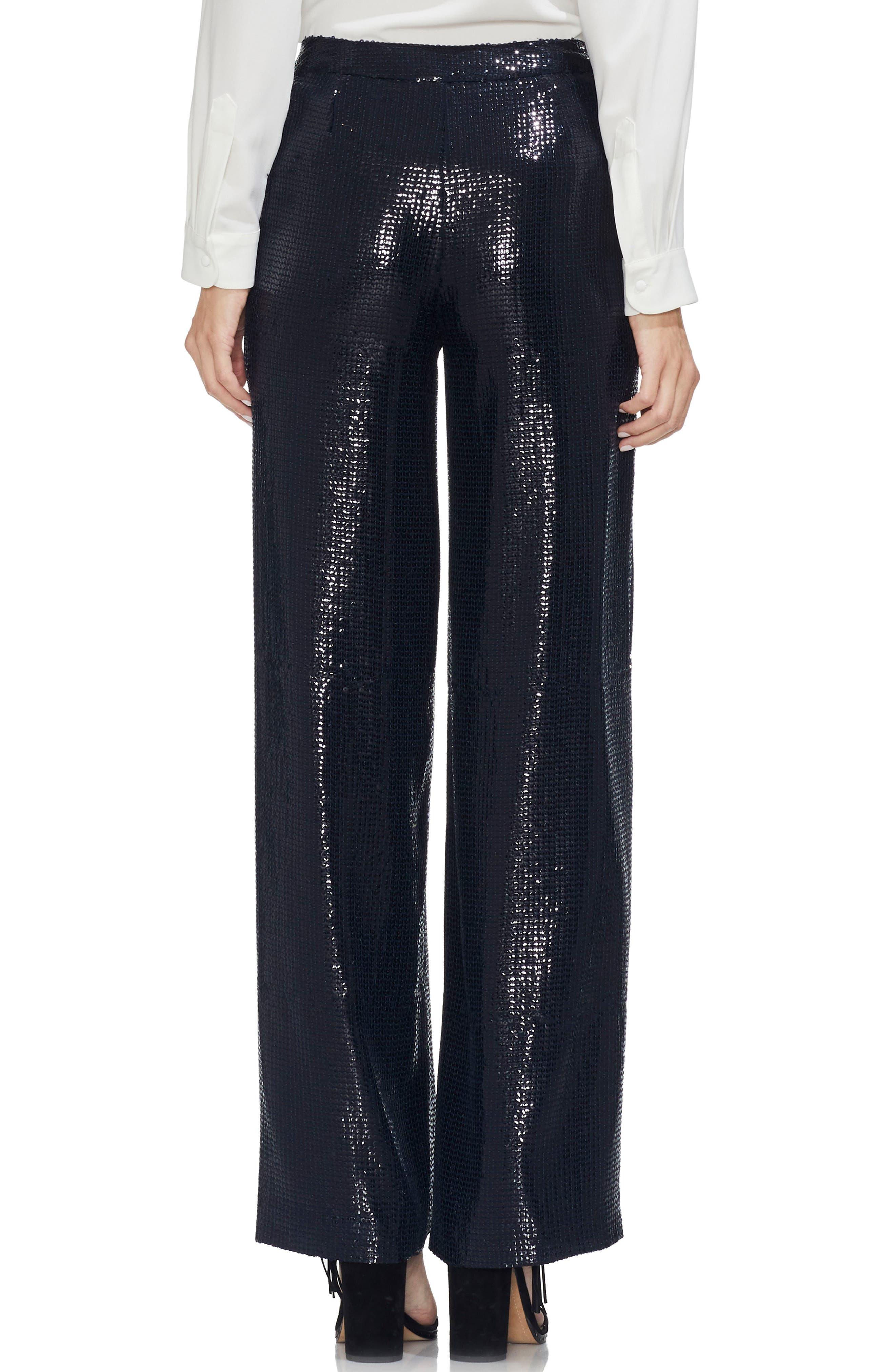 Allover Sequin Wide Leg Pants,                             Alternate thumbnail 2, color,                             CLASSIC NAVY