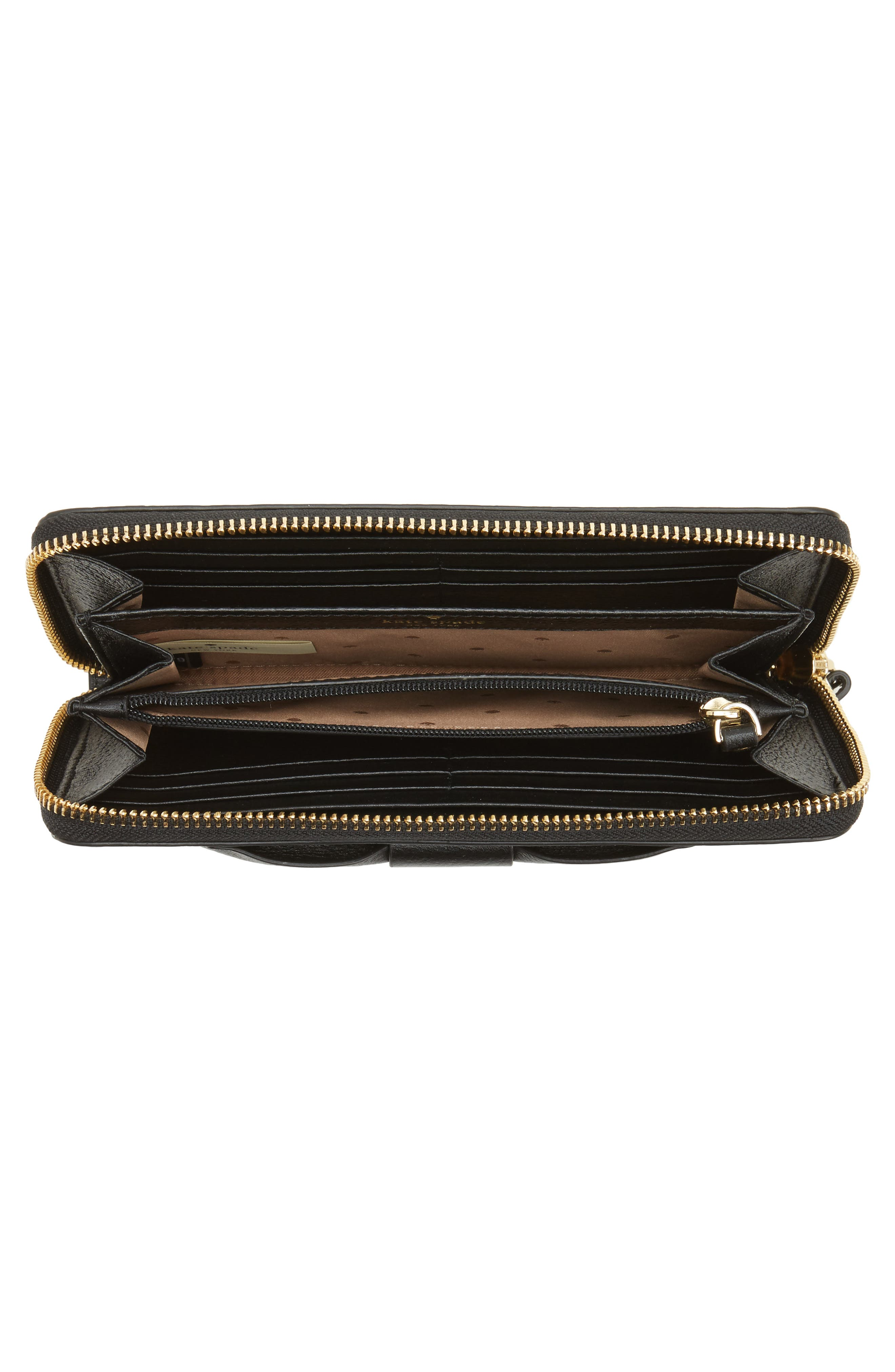 olive drive - lacey bow leather wallet,                             Alternate thumbnail 4, color,                             001