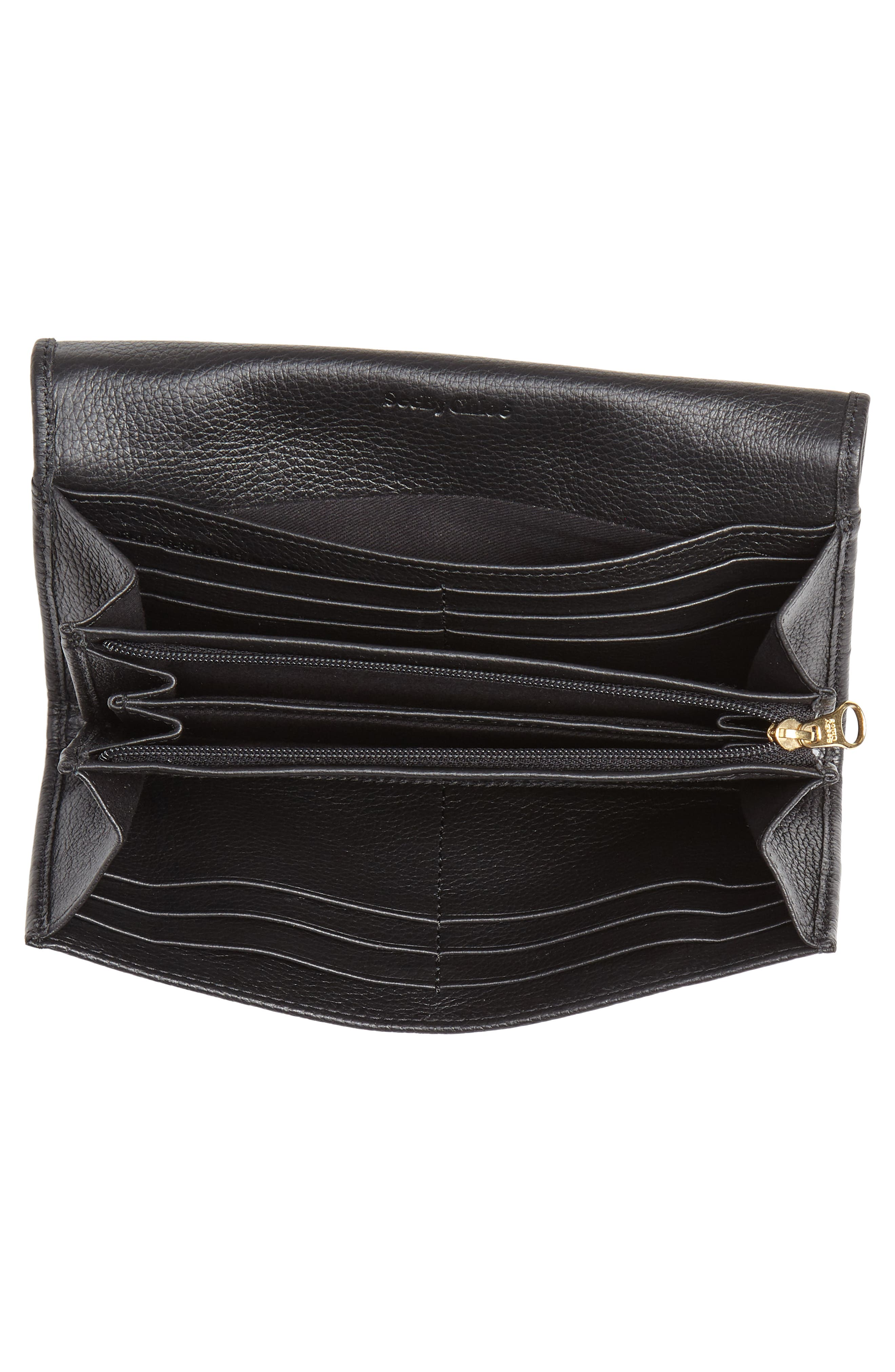 Lizzie Leather Continental Wallet,                             Alternate thumbnail 2, color,                             BLACK