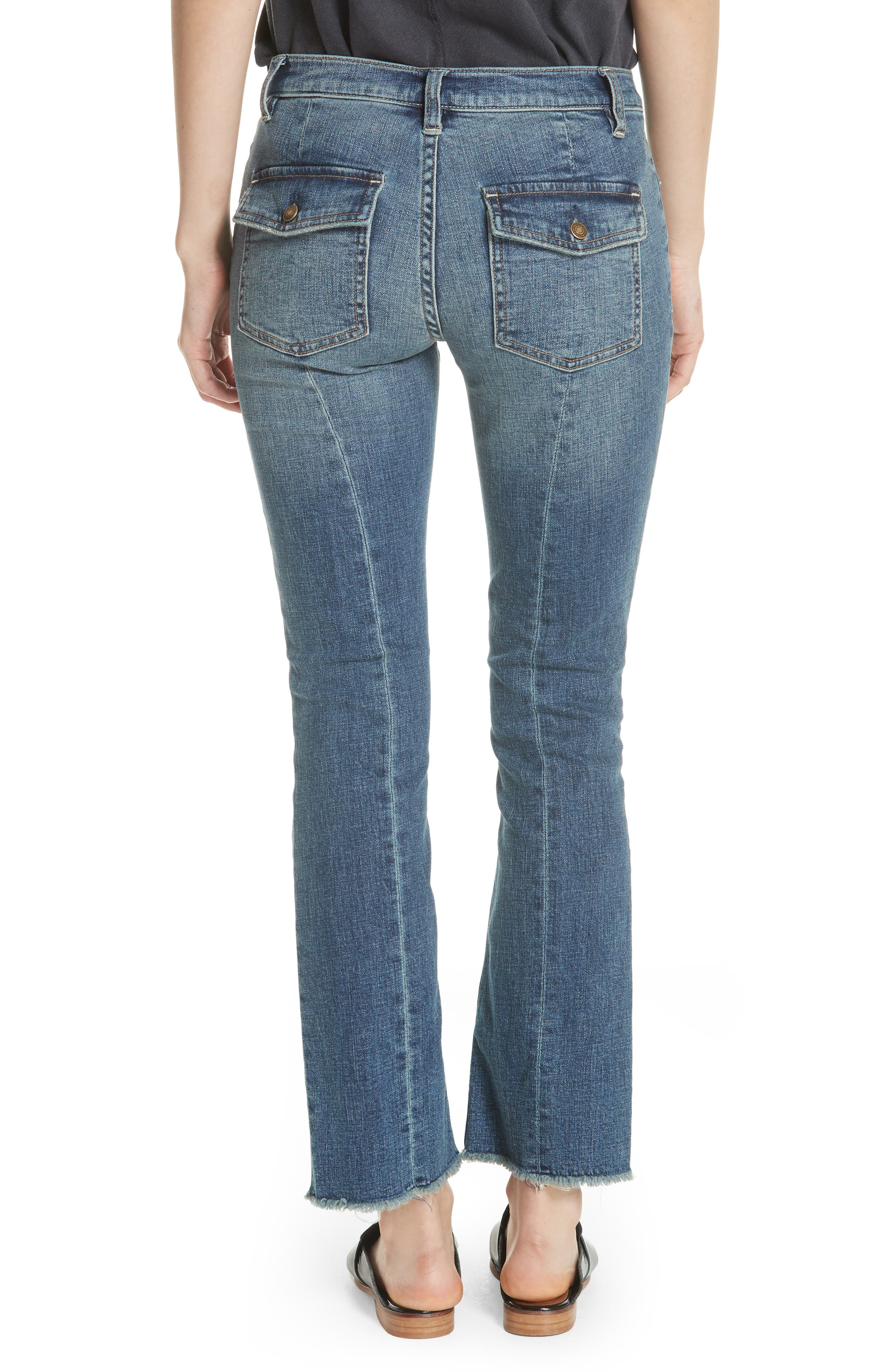 We the Free by Free People Austin Raw Hem Ankle Jeans,                             Alternate thumbnail 2, color,                             BLUE