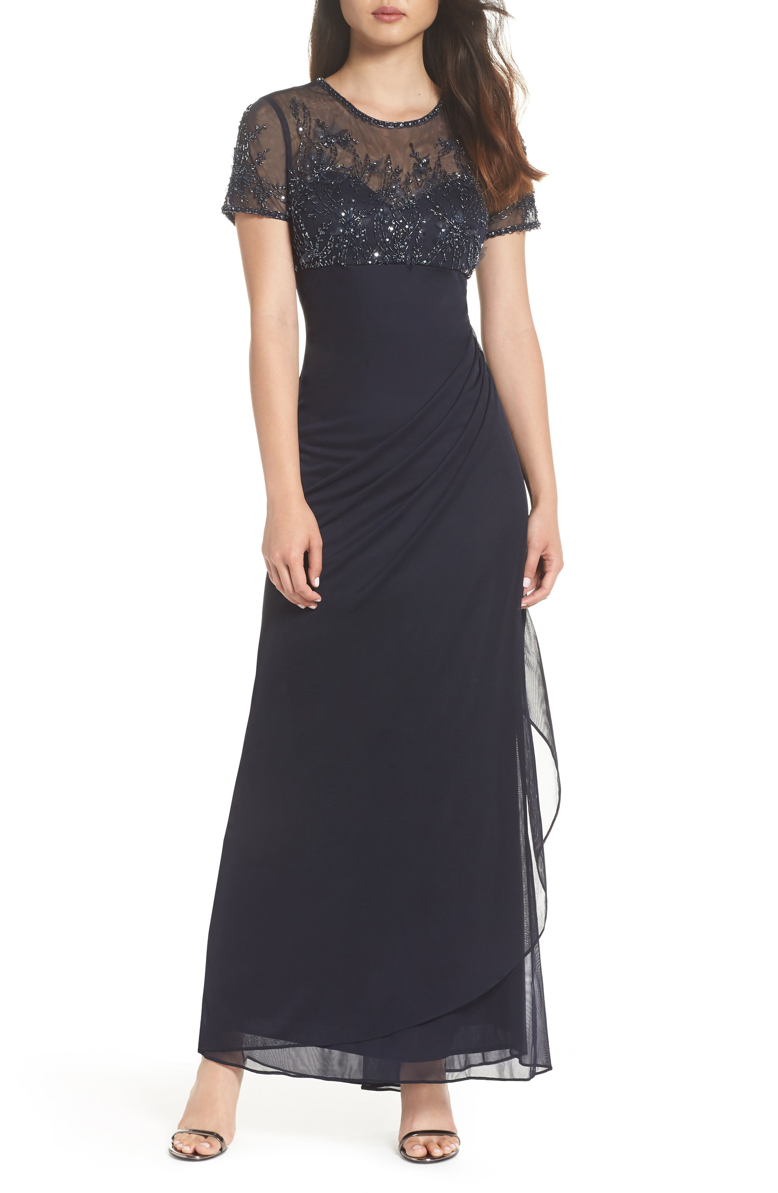 Side Ruched Beaded Gown,                             Main thumbnail 1, color,                             NAVY