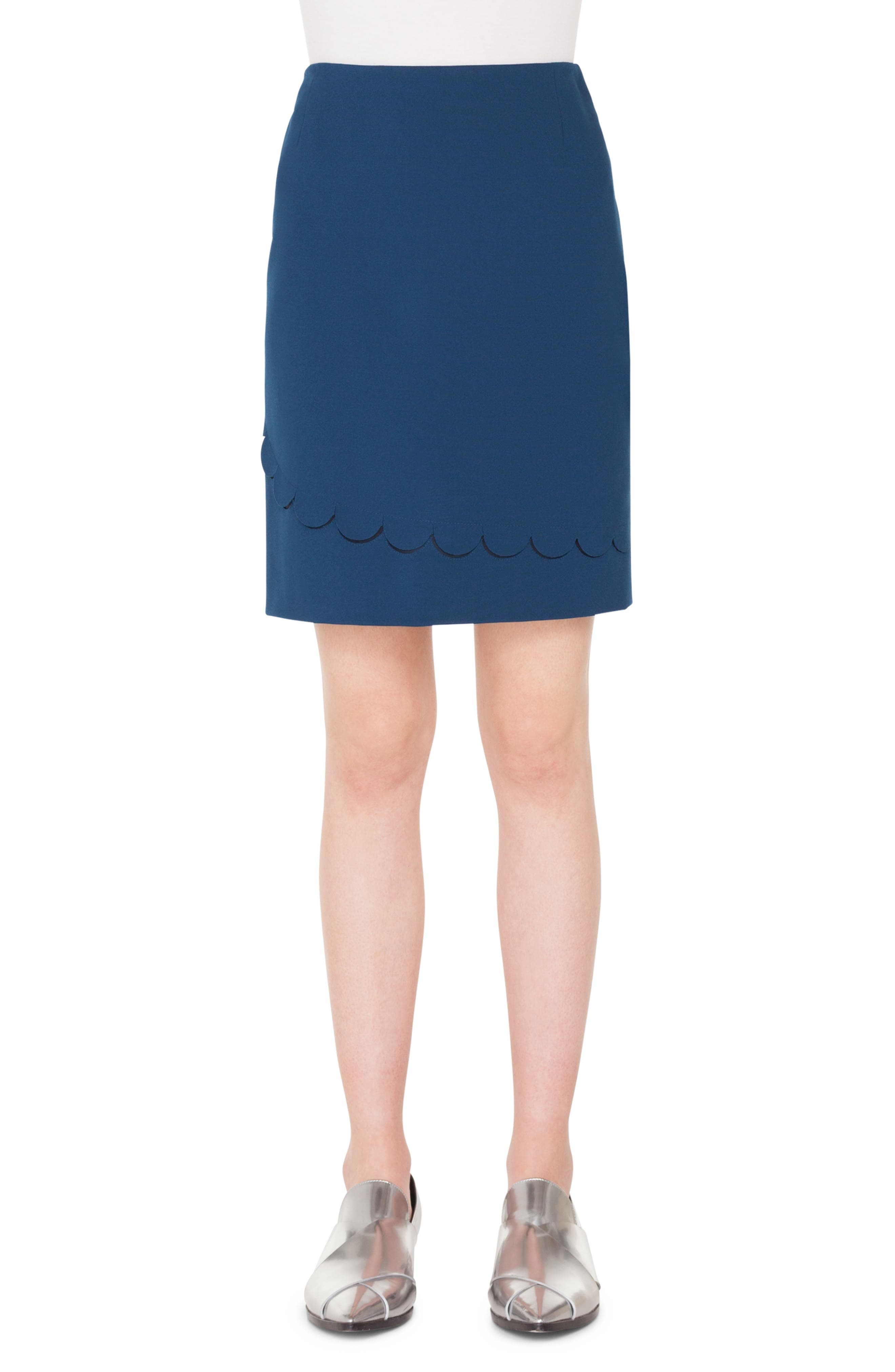 AKRIS PUNTO,                             Scallop Detail Miniskirt,                             Main thumbnail 1, color,                             BLU MARE