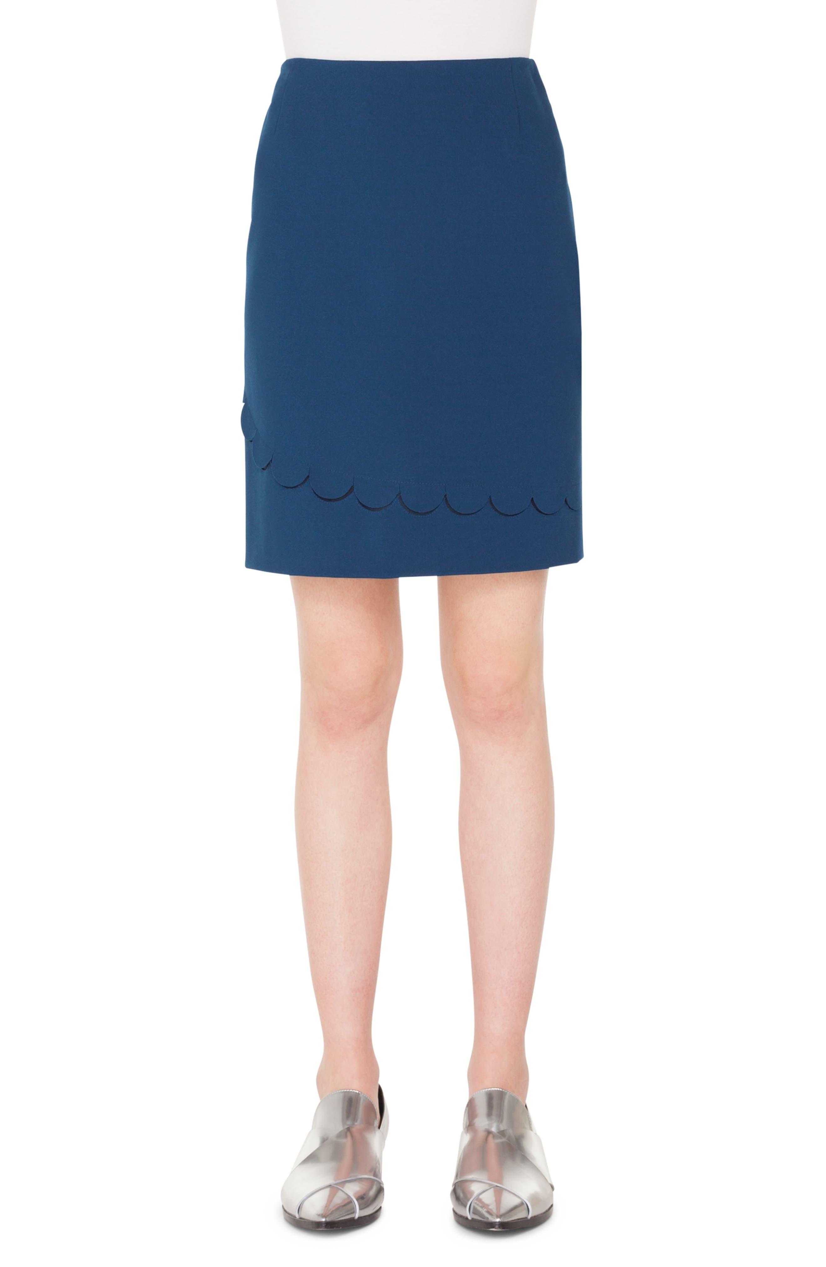 AKRIS PUNTO Scallop Detail Miniskirt, Main, color, BLU MARE