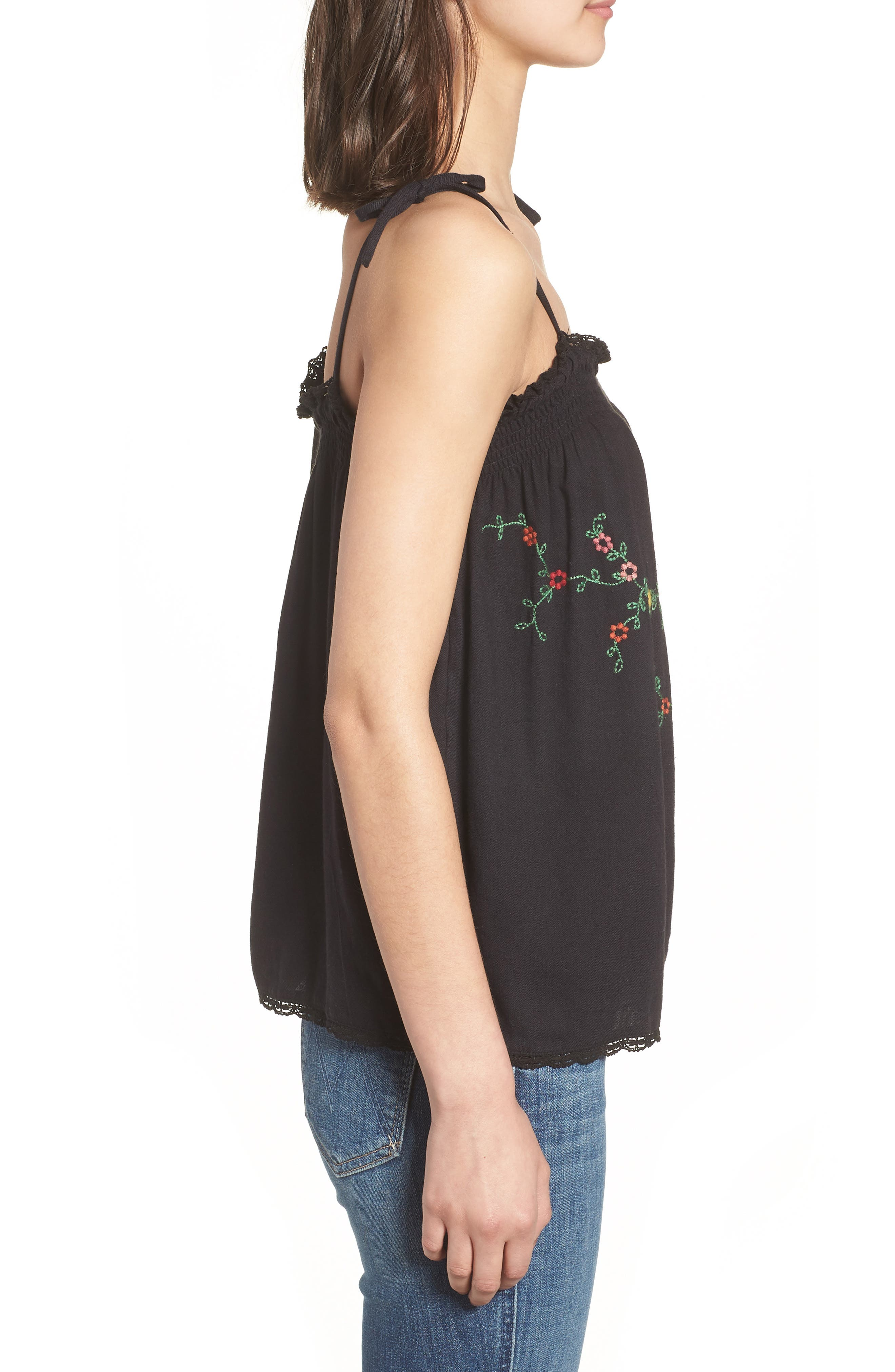 Embroidered Vintage Camisole Top,                             Alternate thumbnail 3, color,                             001