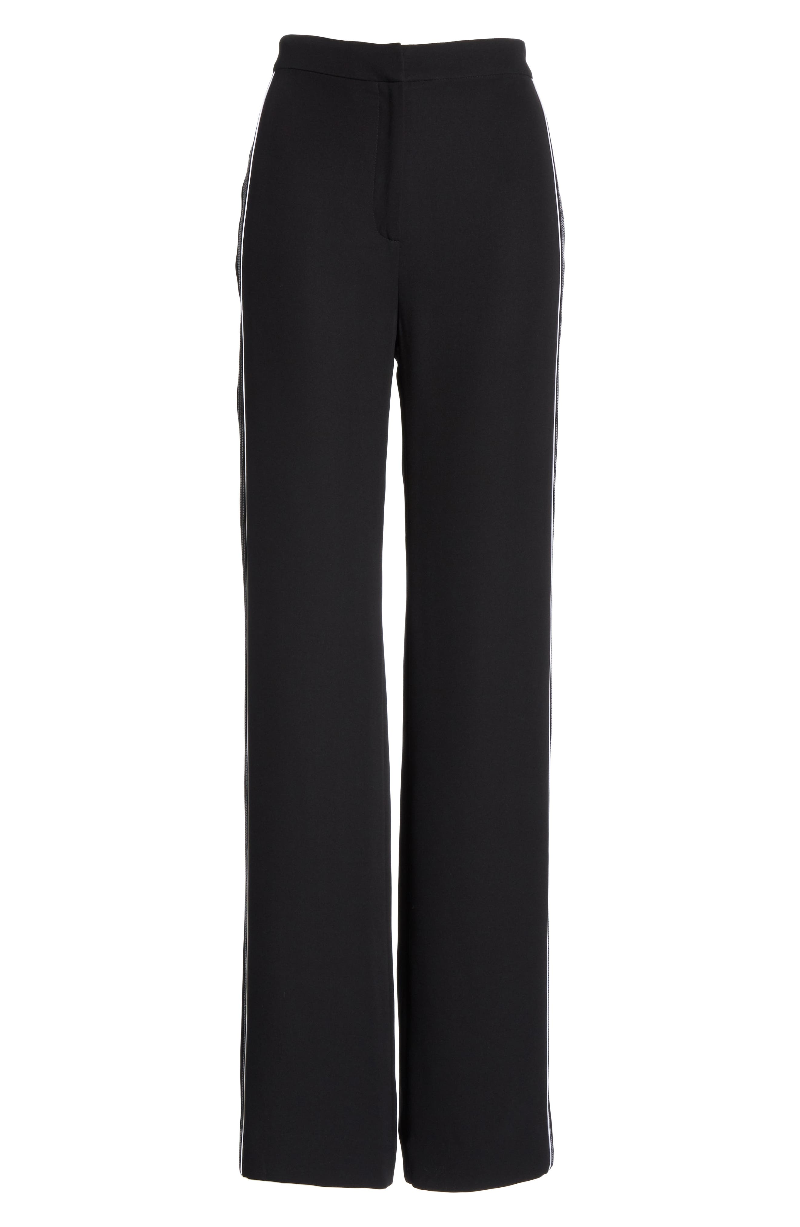 Solid Heavy Georgette Pants,                             Alternate thumbnail 6, color,                             CAVIAR/ WHITE