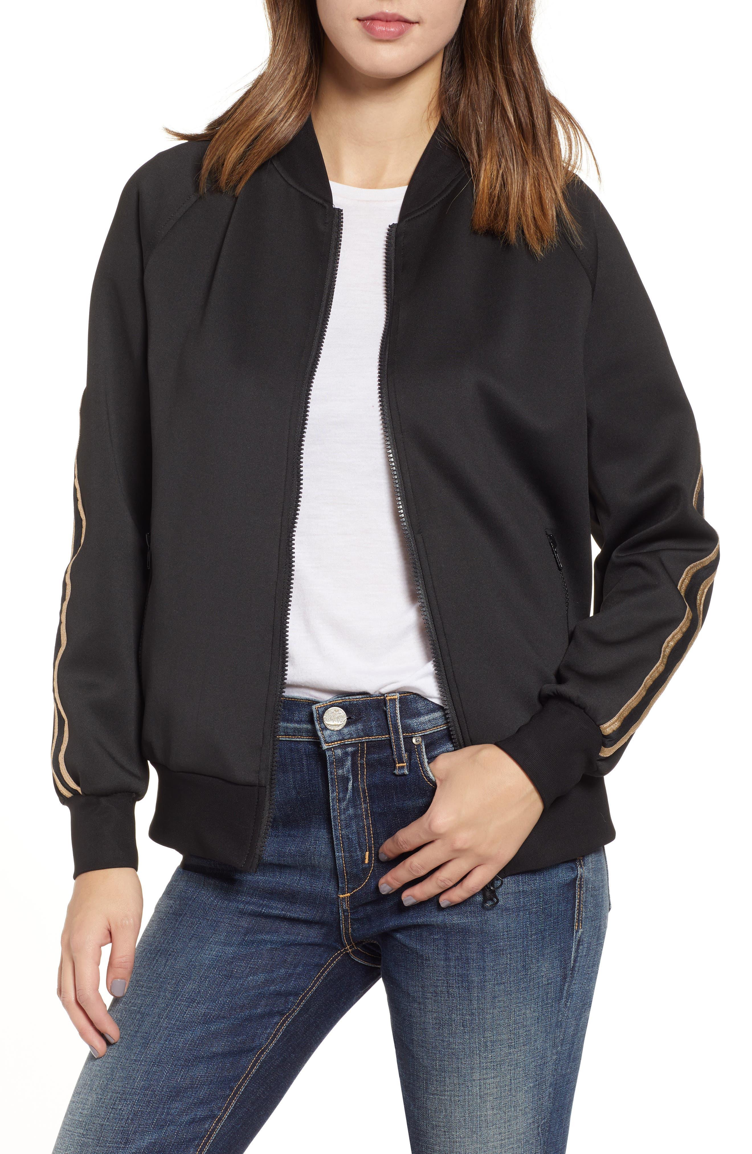 Metallic Stripe Track Jacket,                             Main thumbnail 1, color,                             BLACK