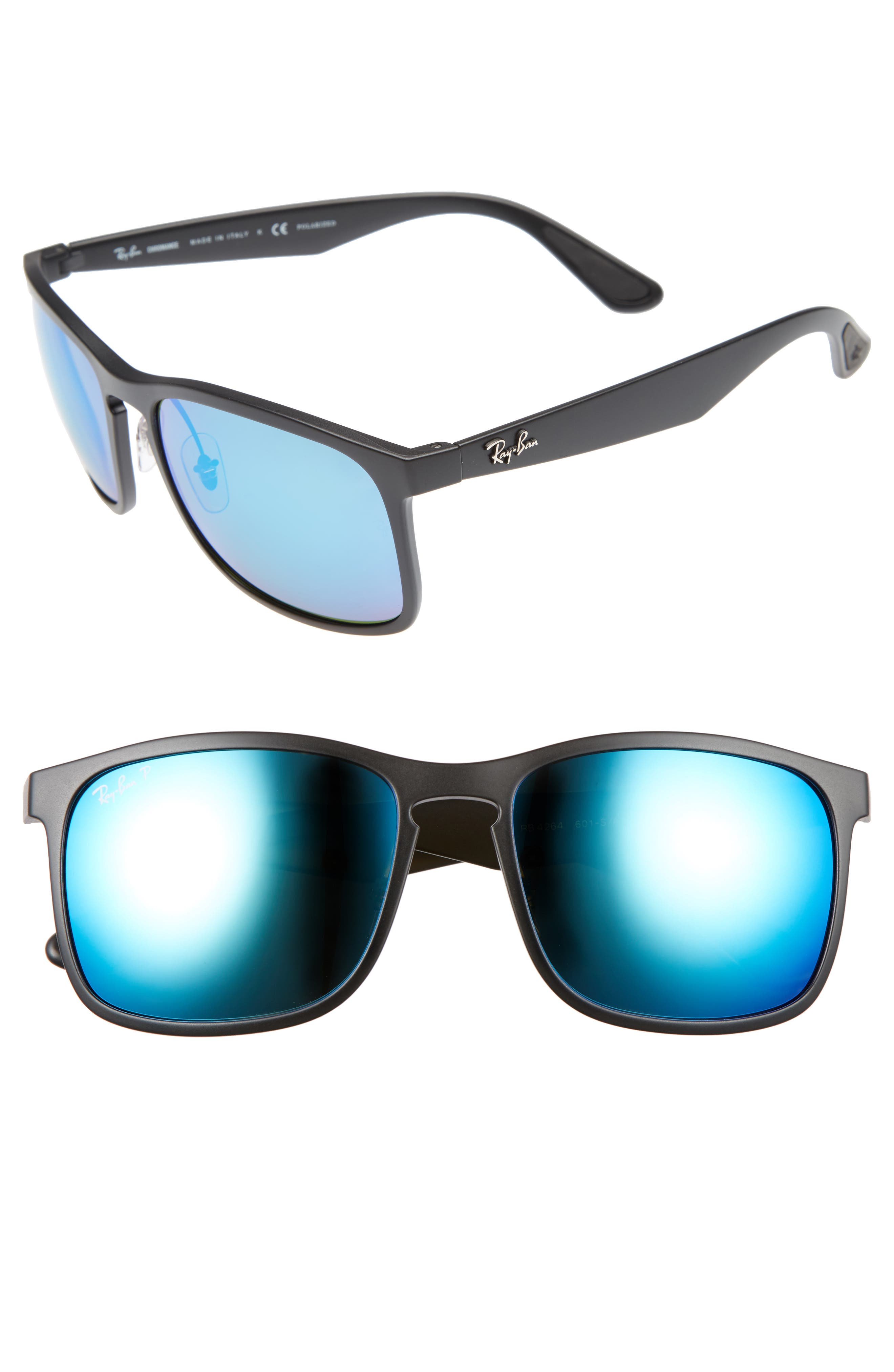 RAY-BAN 58mm Polarized Sunglasses, Main, color, MATTE BLACK/BLUE FLASH