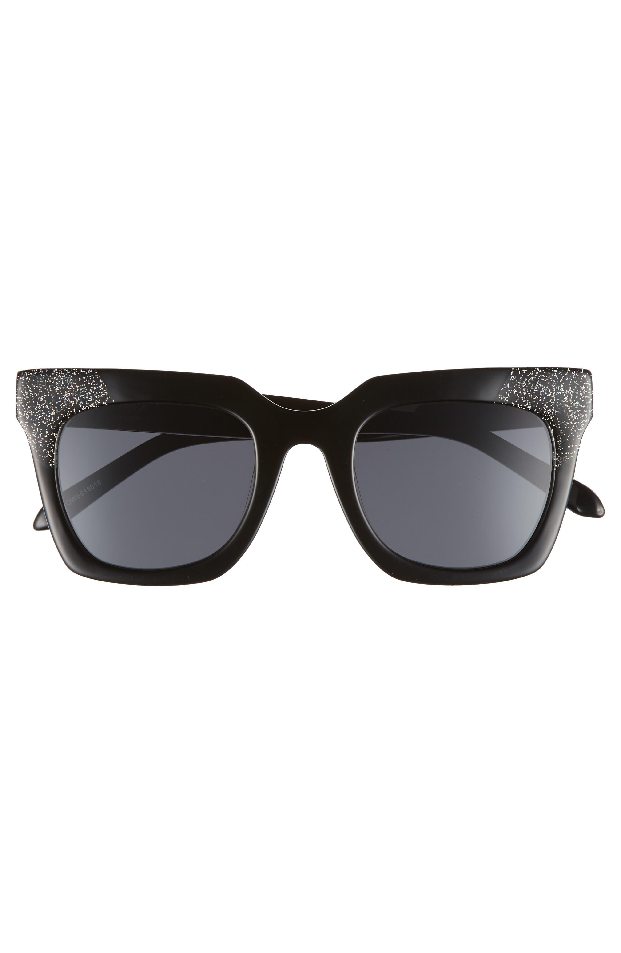 Riley 50mm Cat Eye Sunglasses,                             Alternate thumbnail 3, color,                             BLACK/ SMOKE