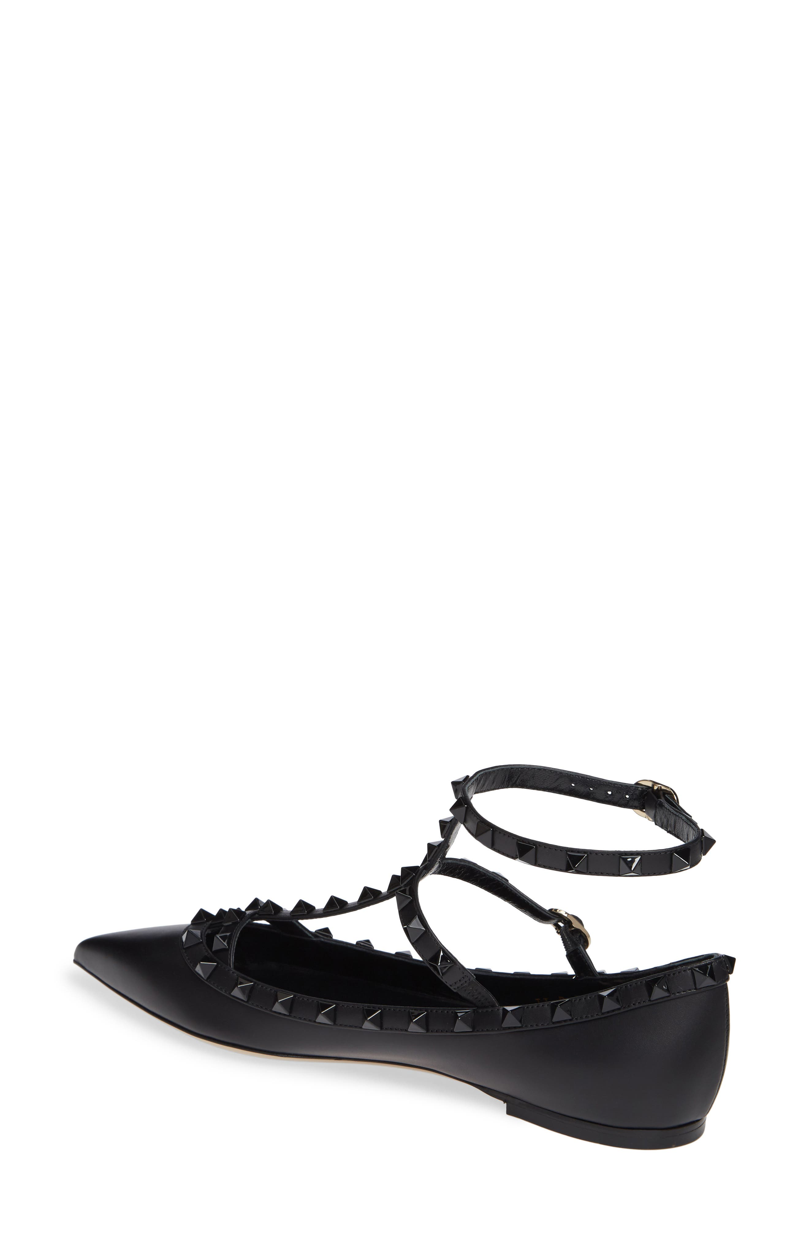 Rockstud Double Ankle Strap Pointy Toe Flat,                             Alternate thumbnail 2, color,                             BLACK