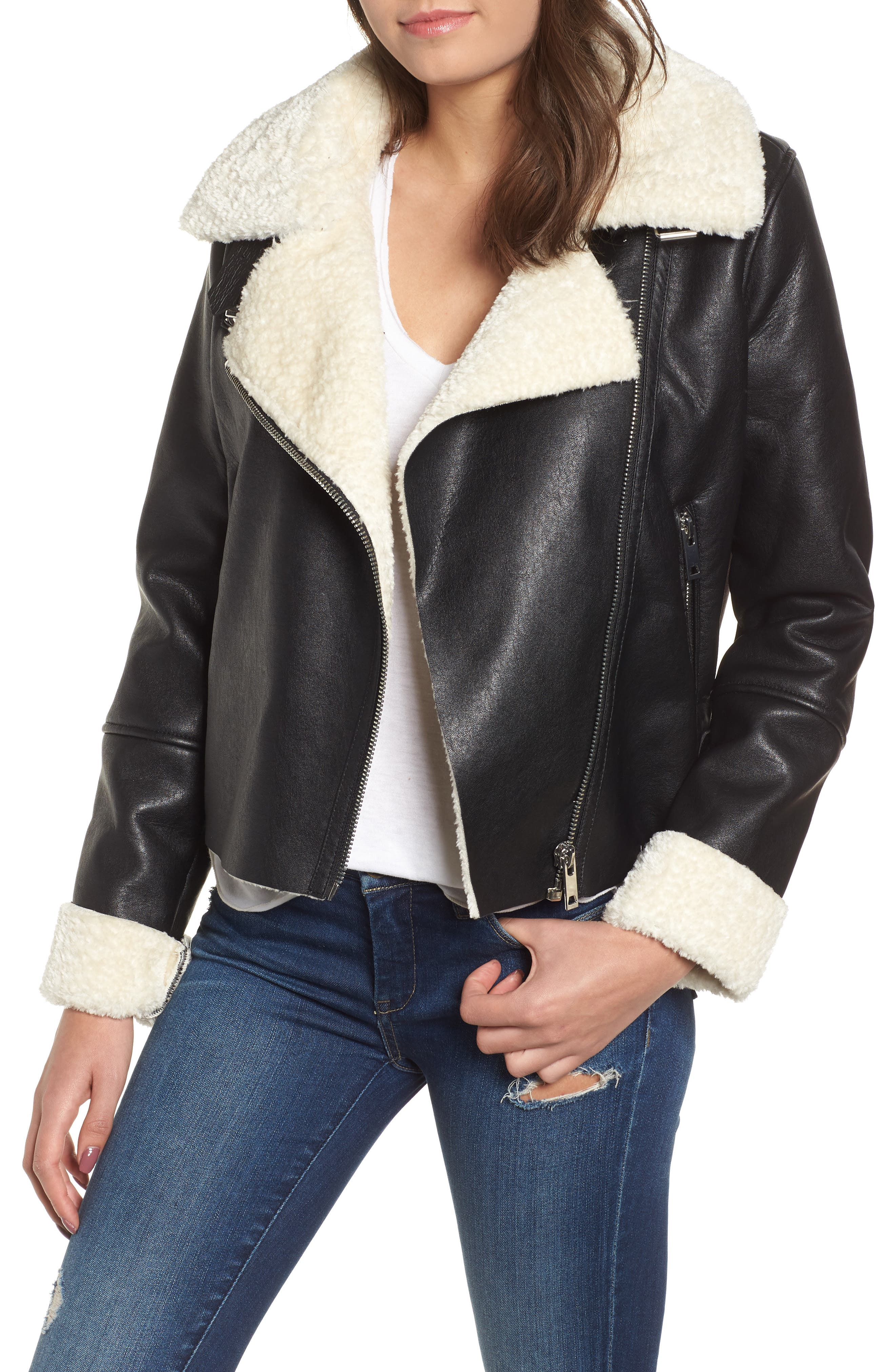 Blanknyc MOTO JACKET WITH FAUX SHEARLING LINING