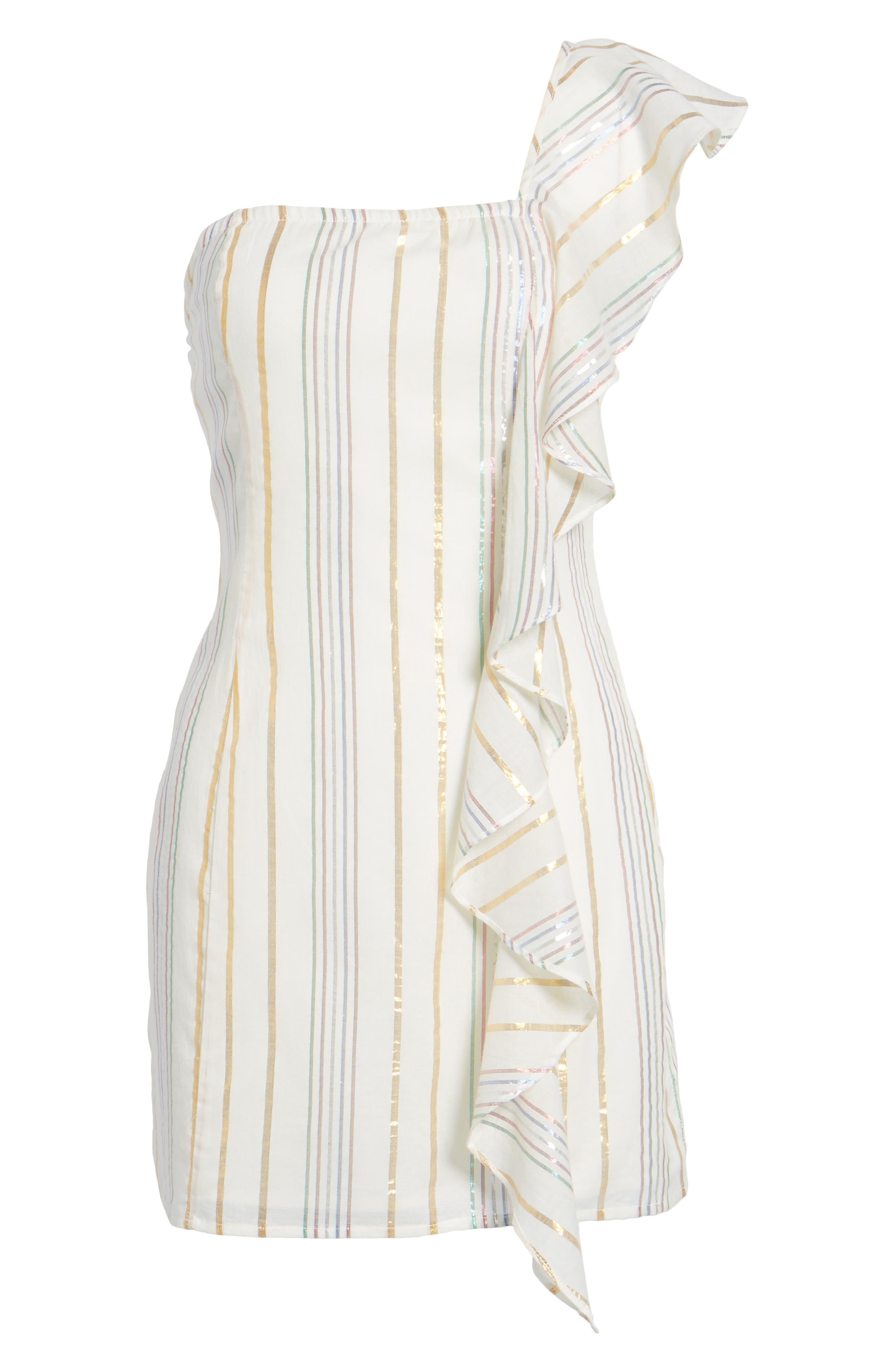 Cait One-Shoulder Sheath Dress,                             Alternate thumbnail 6, color,                             111