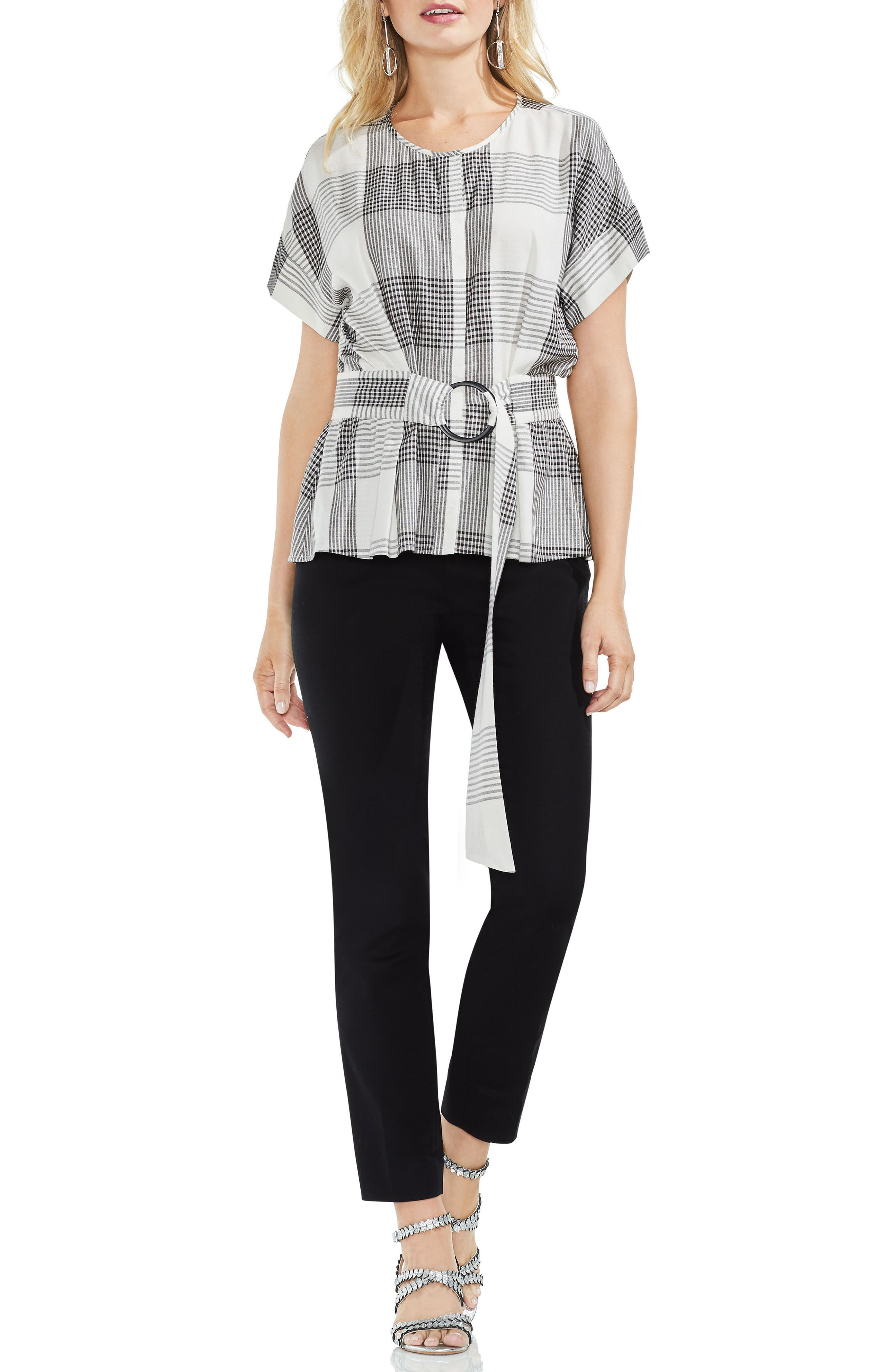 Plaid Belted Top,                             Alternate thumbnail 3, color,                             006