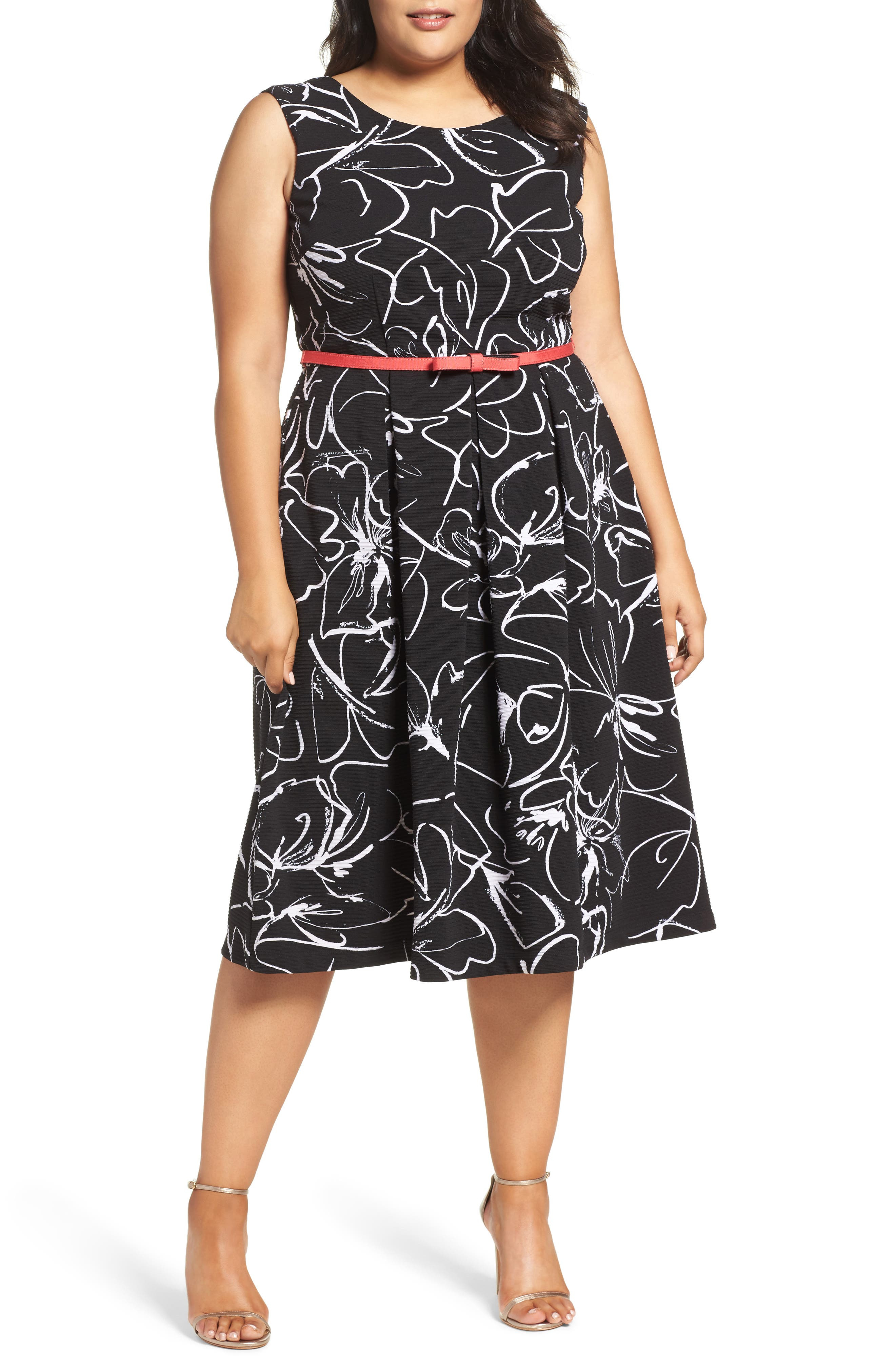 Print Fit & Flare Dress,                             Alternate thumbnail 4, color,