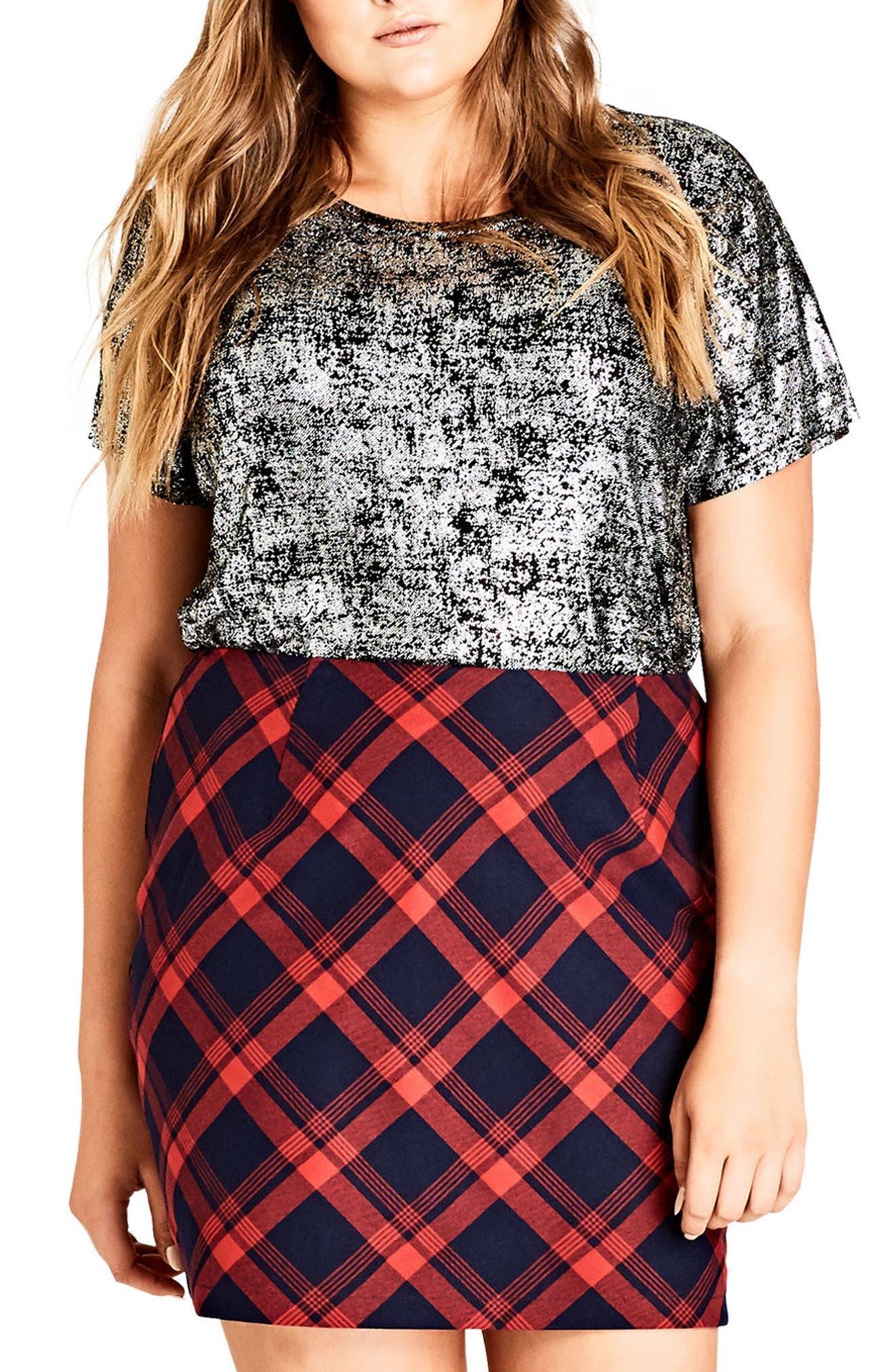 Check Mate Miniskirt,                             Main thumbnail 1, color,                             601