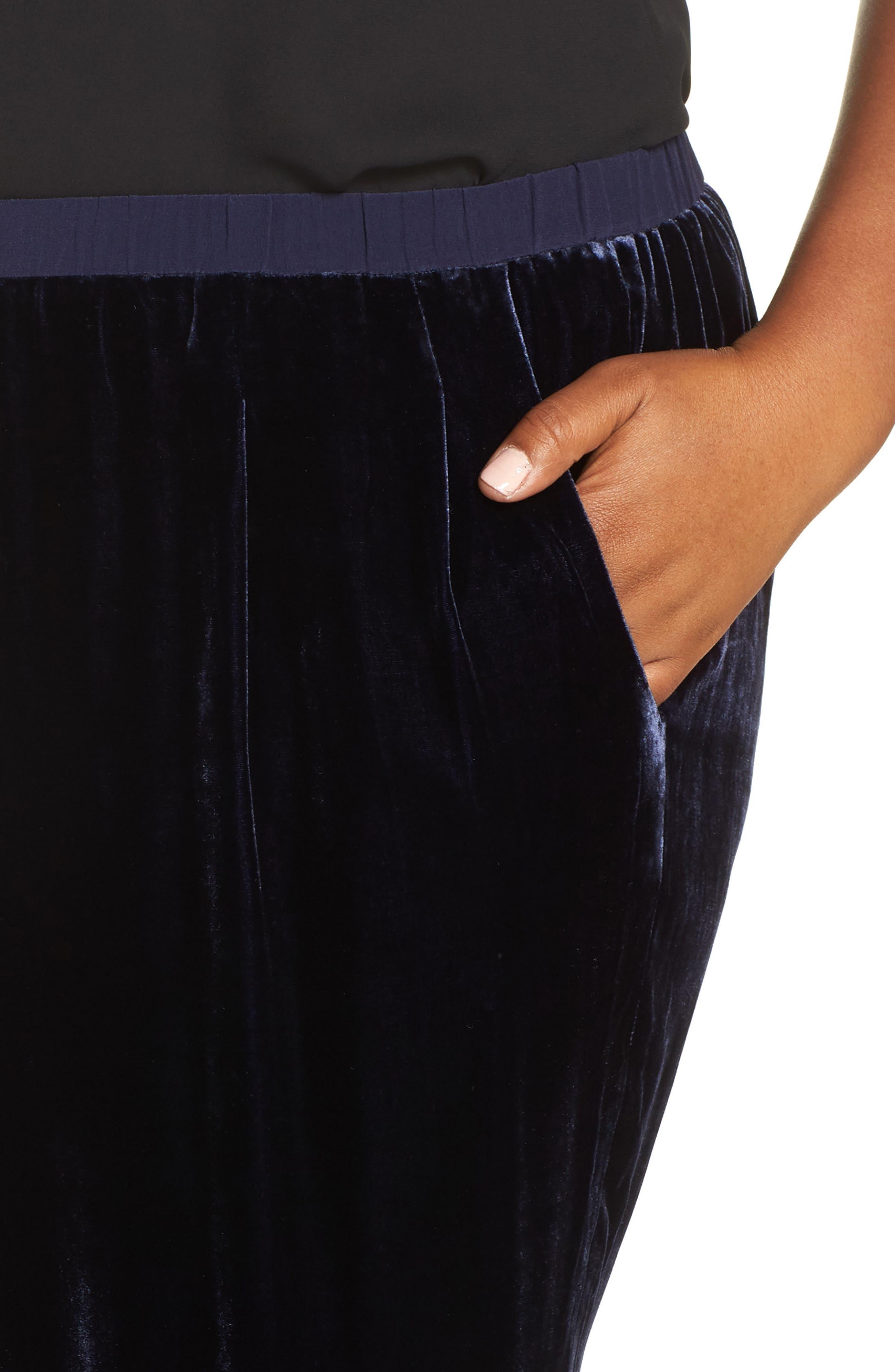 High Rise Velvet Ankle Pants,                             Alternate thumbnail 4, color,                             419