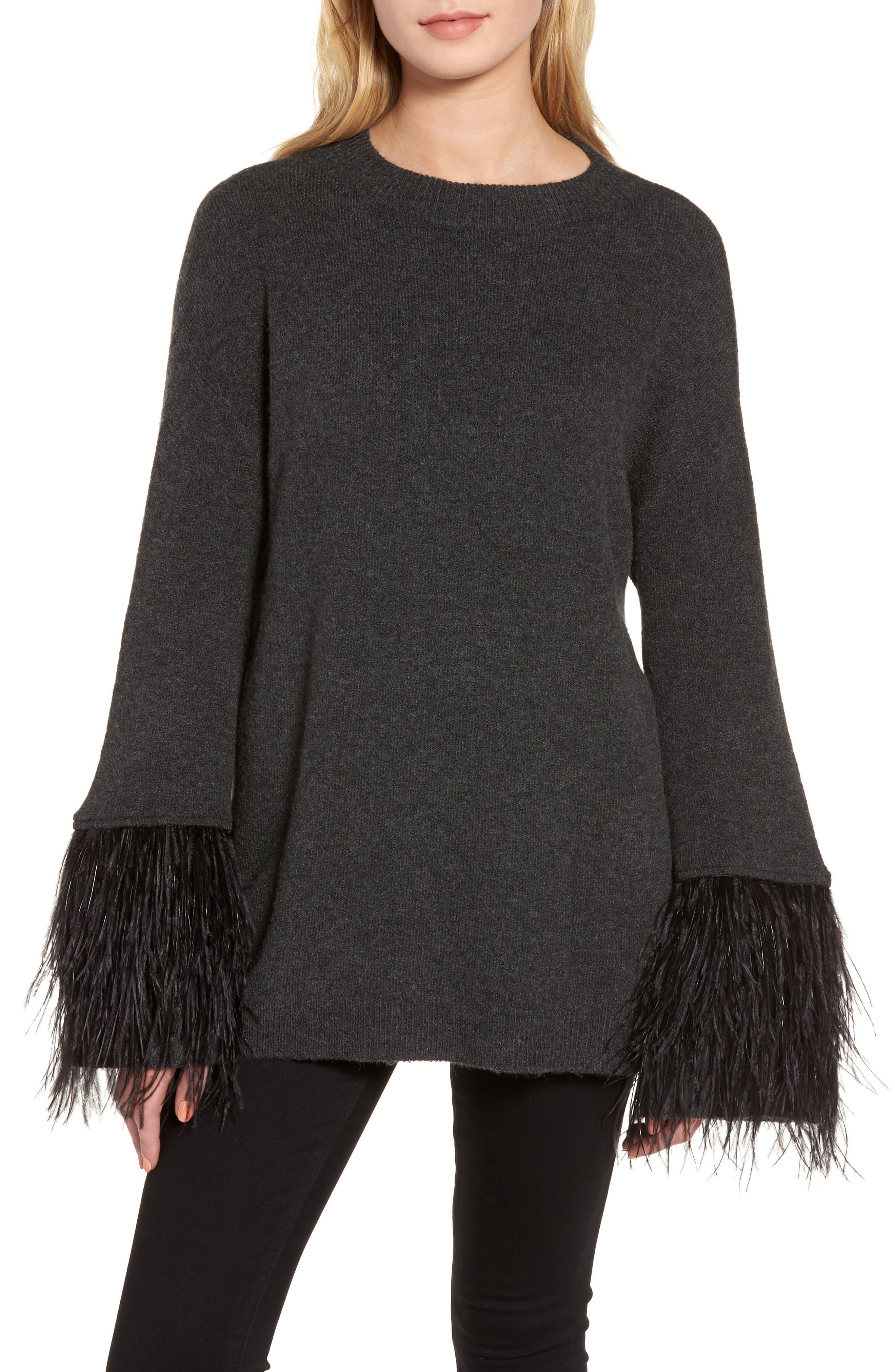 Feather Trim Sweater,                         Main,                         color, 021
