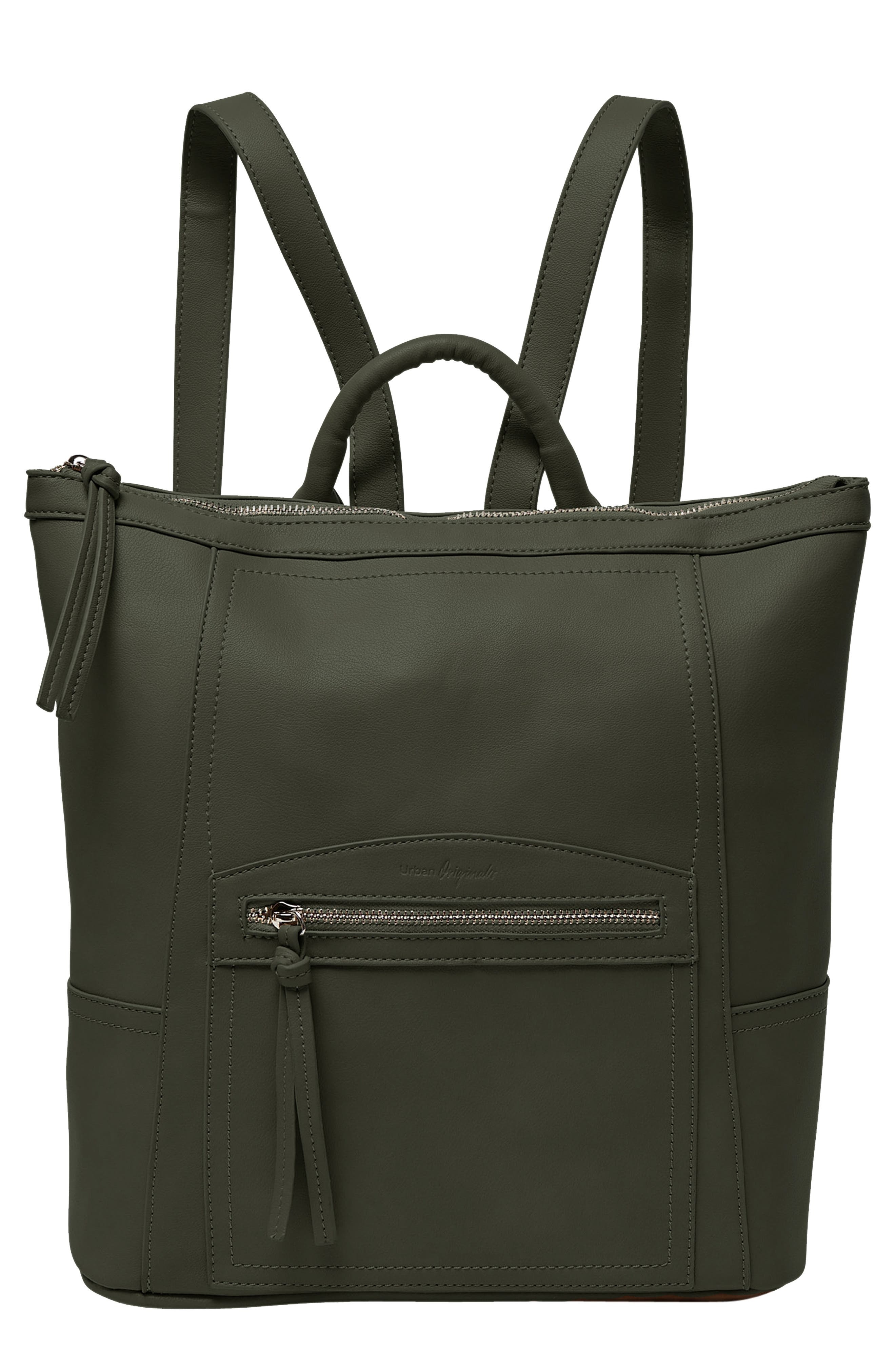 Eternity Vegan Leather Backpack,                             Main thumbnail 1, color,                             ARMY GREEN