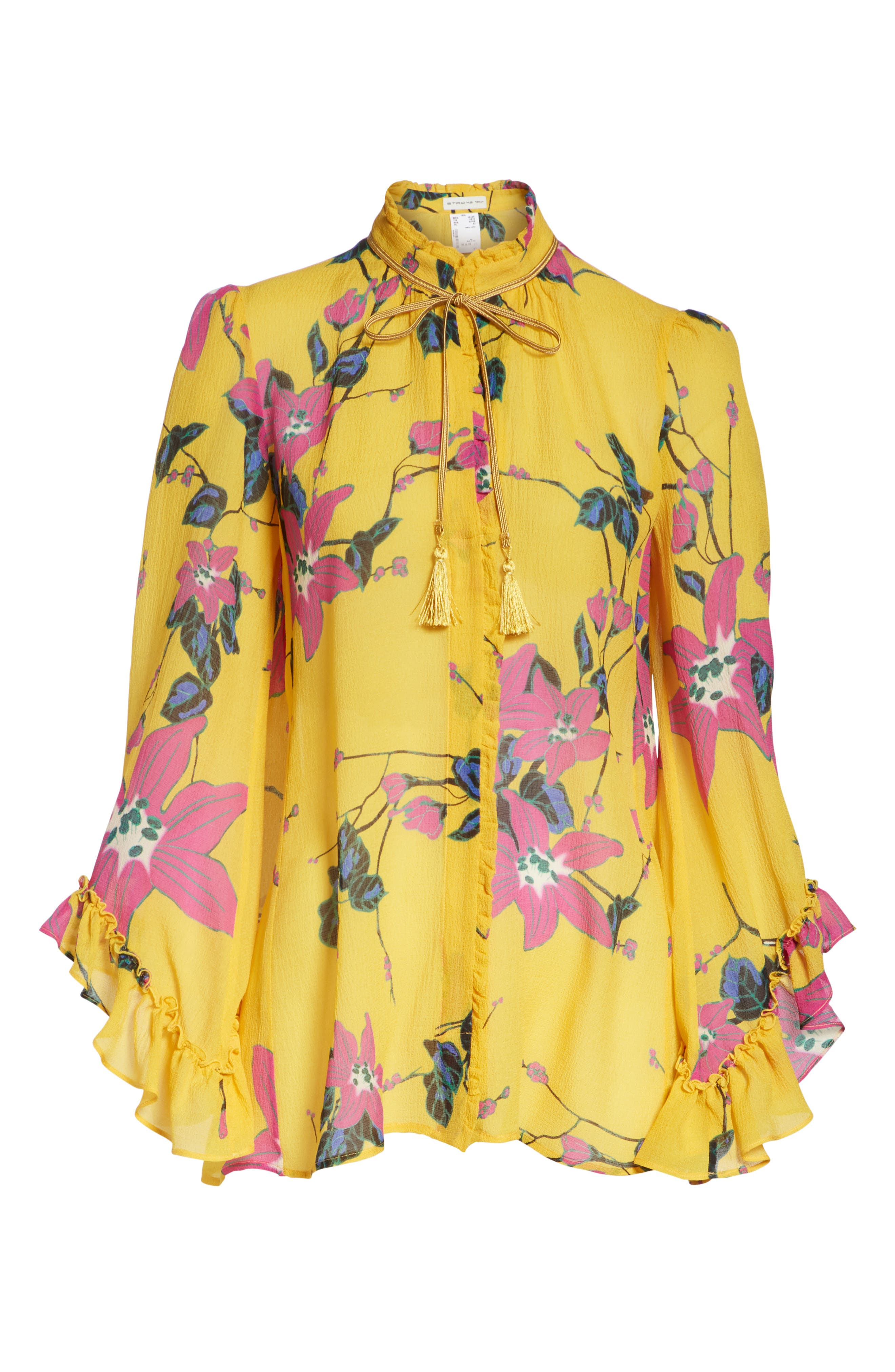 Lily Print Tie Neck Silk Blouse,                             Alternate thumbnail 6, color,                             YELLOW MULTI