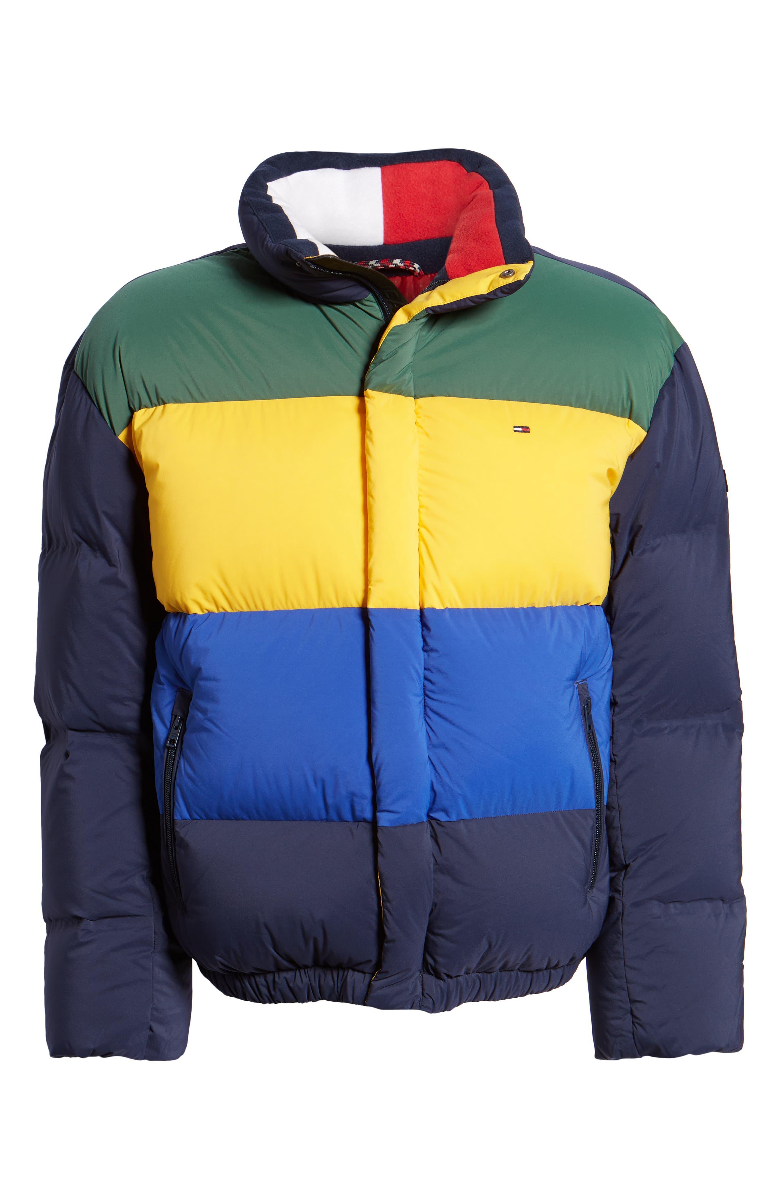 Colorblock Down Jacket,                             Alternate thumbnail 6, color,                             BLACK IRIS / MULTI