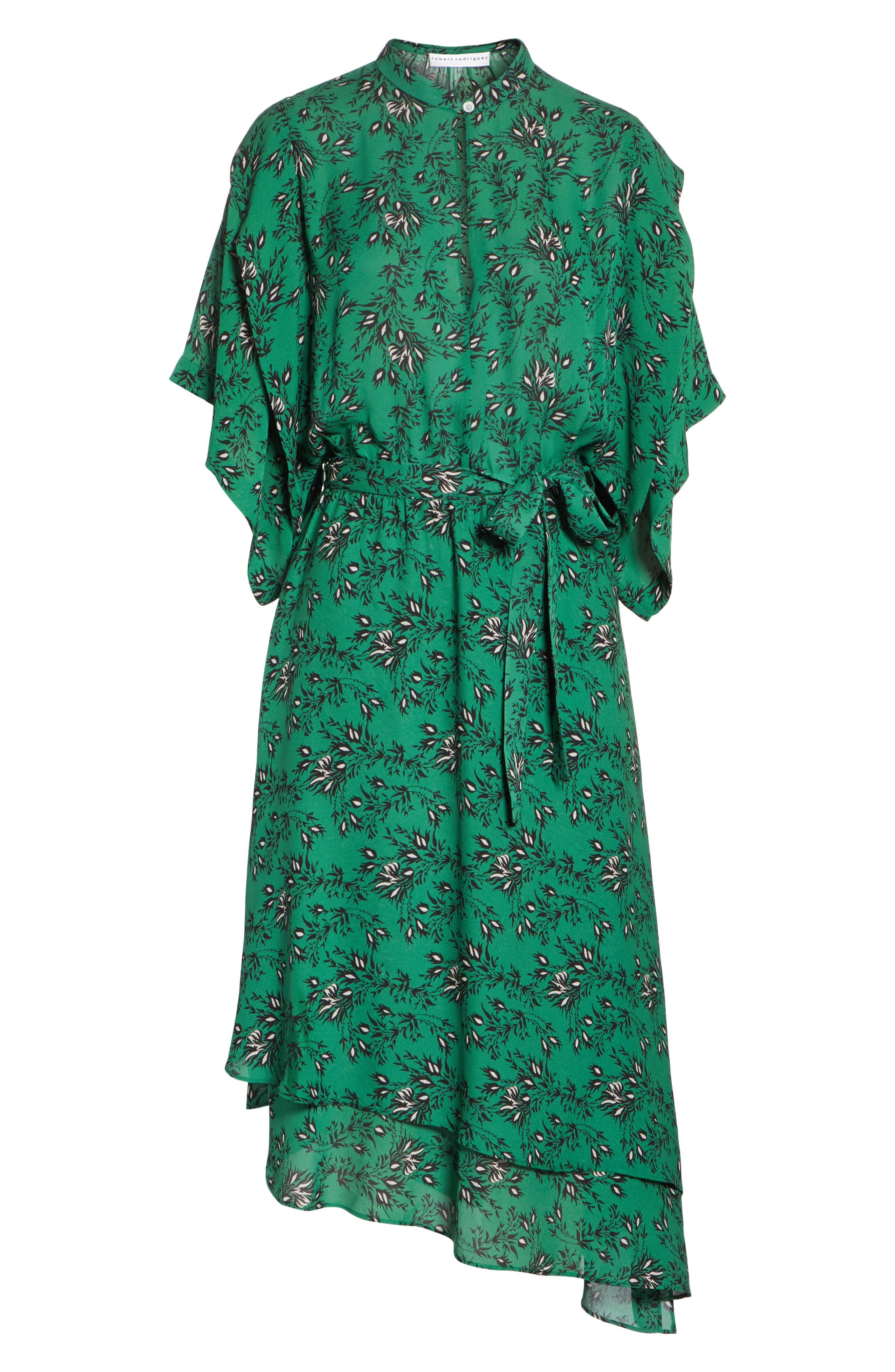 Japanese Floral Midi Dress,                             Alternate thumbnail 6, color,                             EMERALD ORCHID