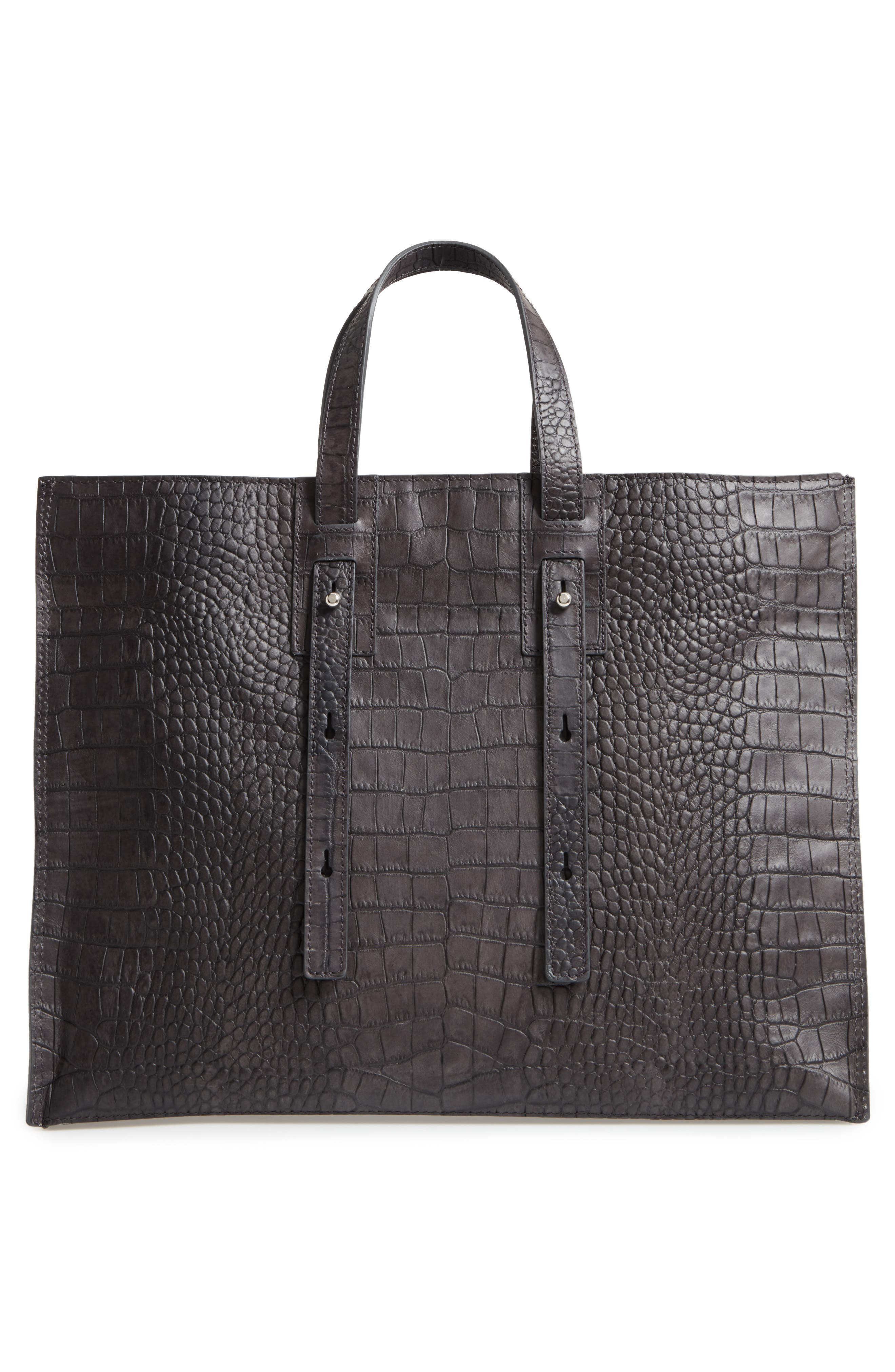 Petra Croc-Embossed Calfskin Leather Tote,                             Alternate thumbnail 3, color,                             020