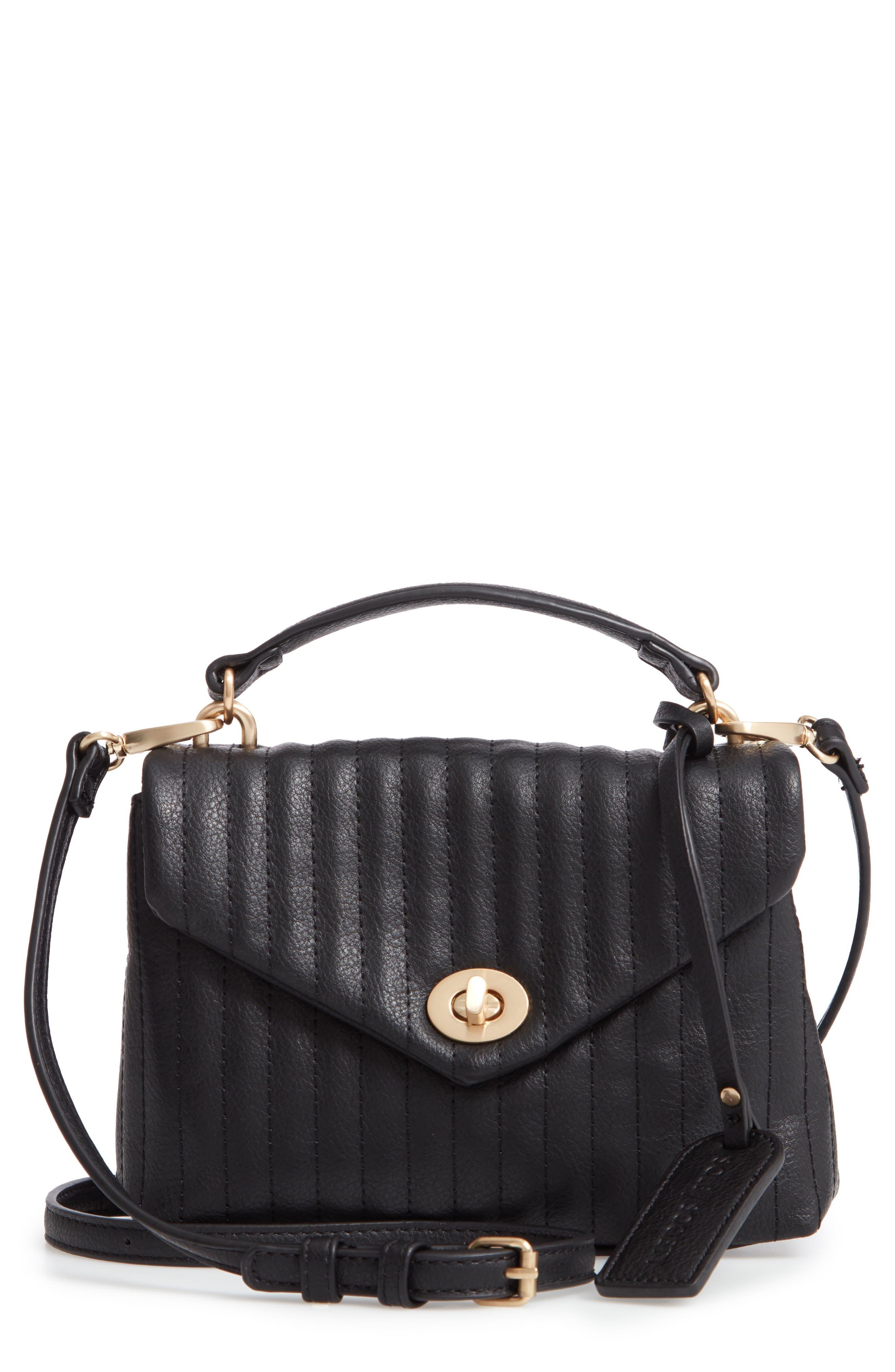 Urche Faux Leather Crossbody Bag,                         Main,                         color, BLACK