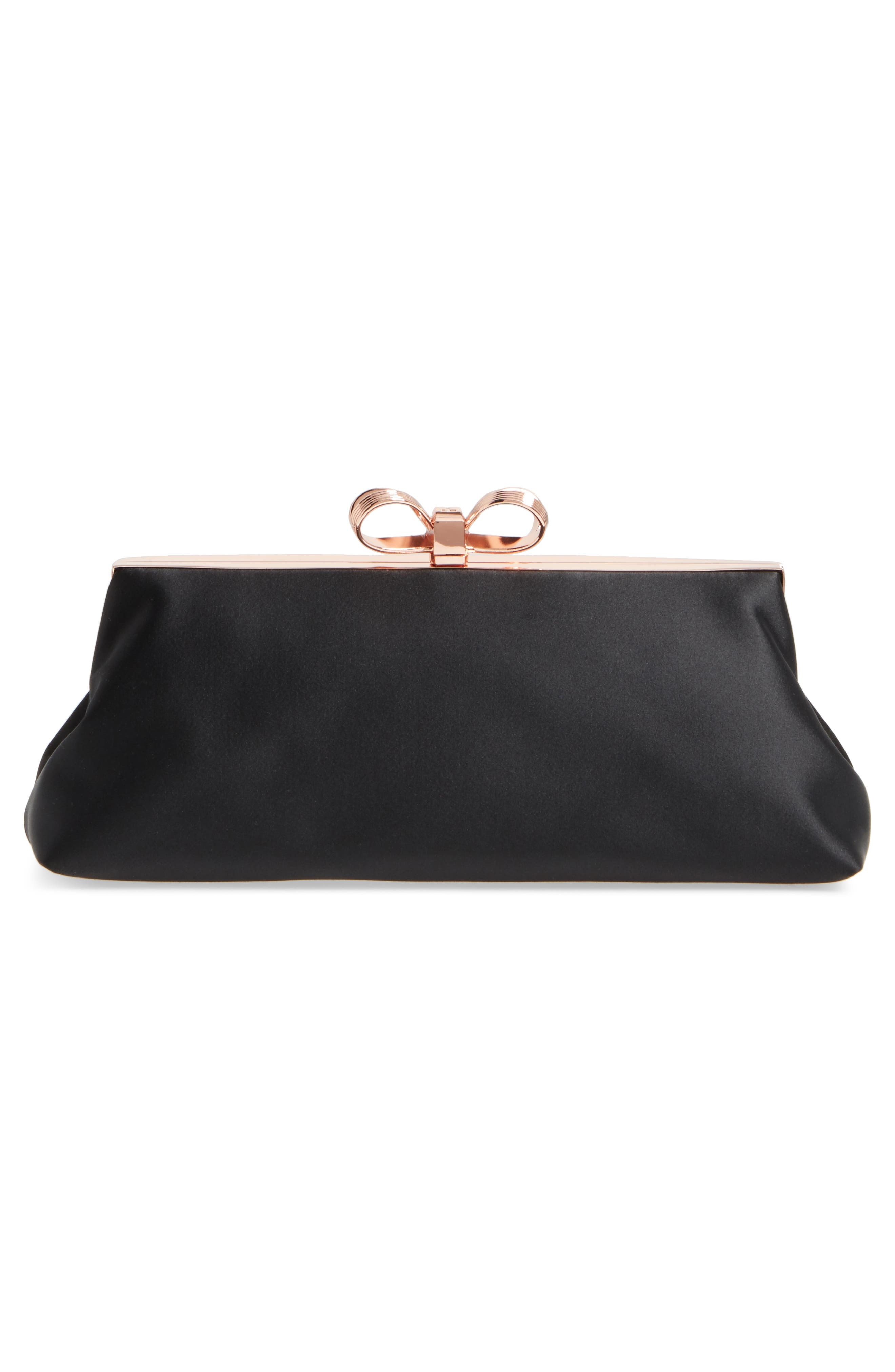 Small Coletta Bow Satin Clutch,                             Alternate thumbnail 3, color,                             001