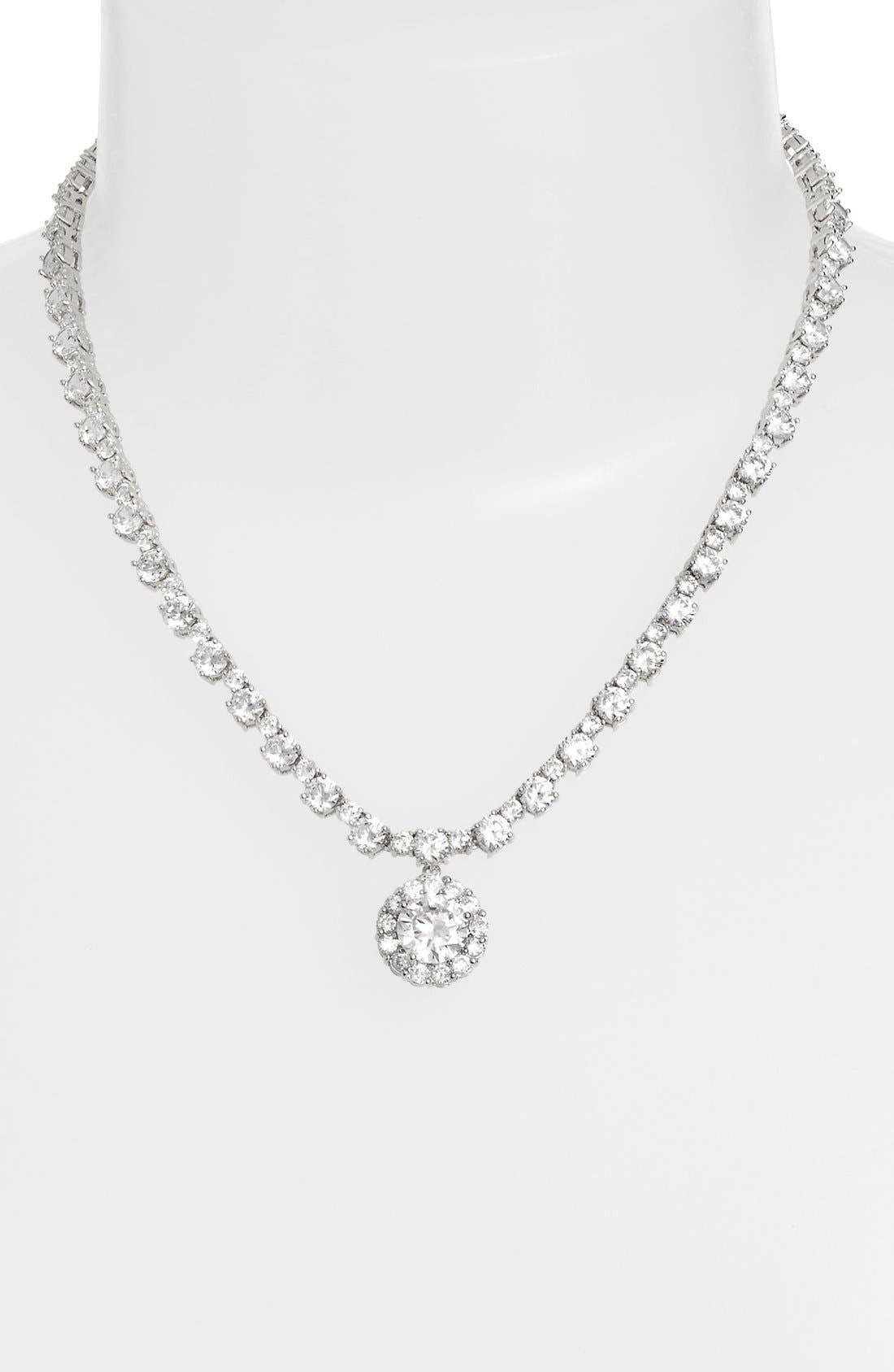 Cubic Zirconia Pendant Necklace,                         Main,                         color, SILVER