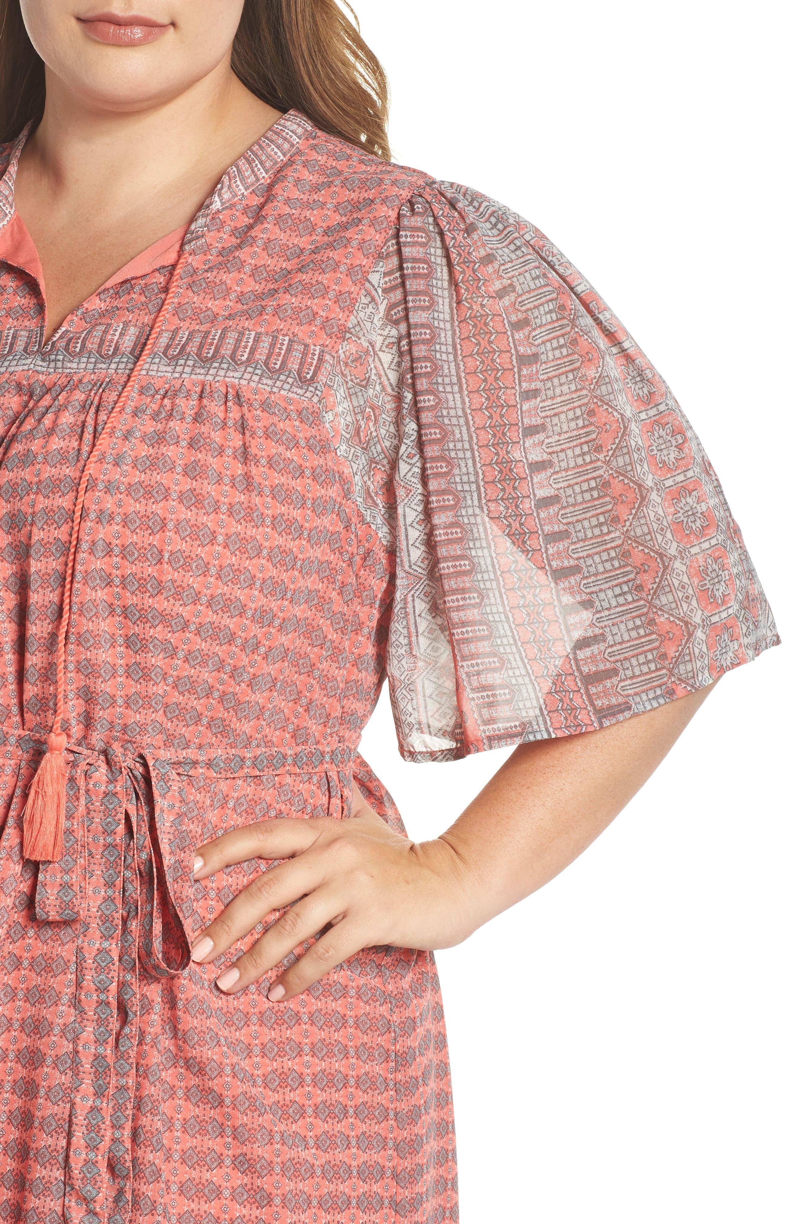 Jenna Print Peasant Dress,                             Alternate thumbnail 4, color,                             PINK MULTI