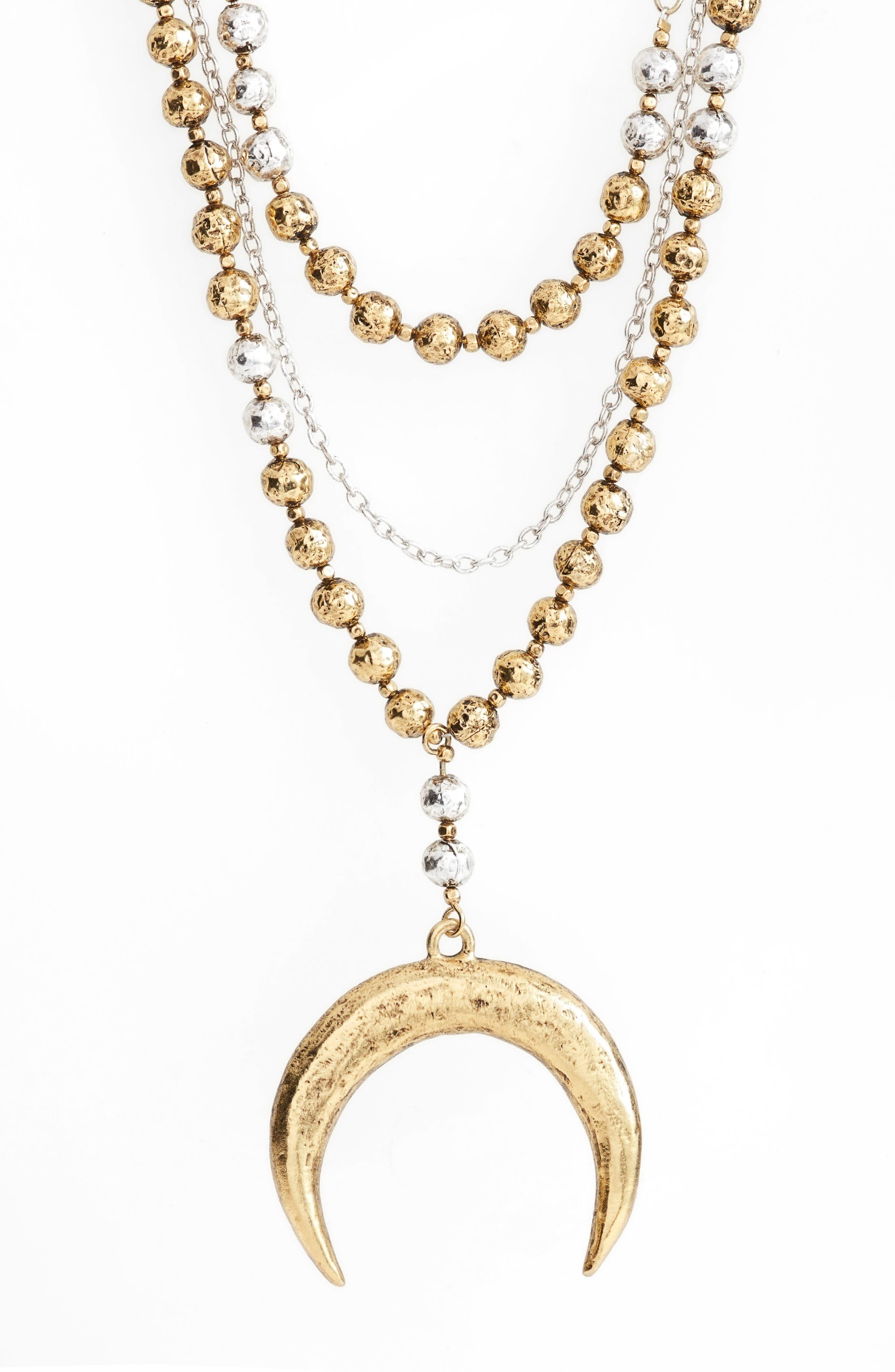 Multistrand Pandant Necklace,                             Alternate thumbnail 2, color,                             GOLD/SILVER MIX