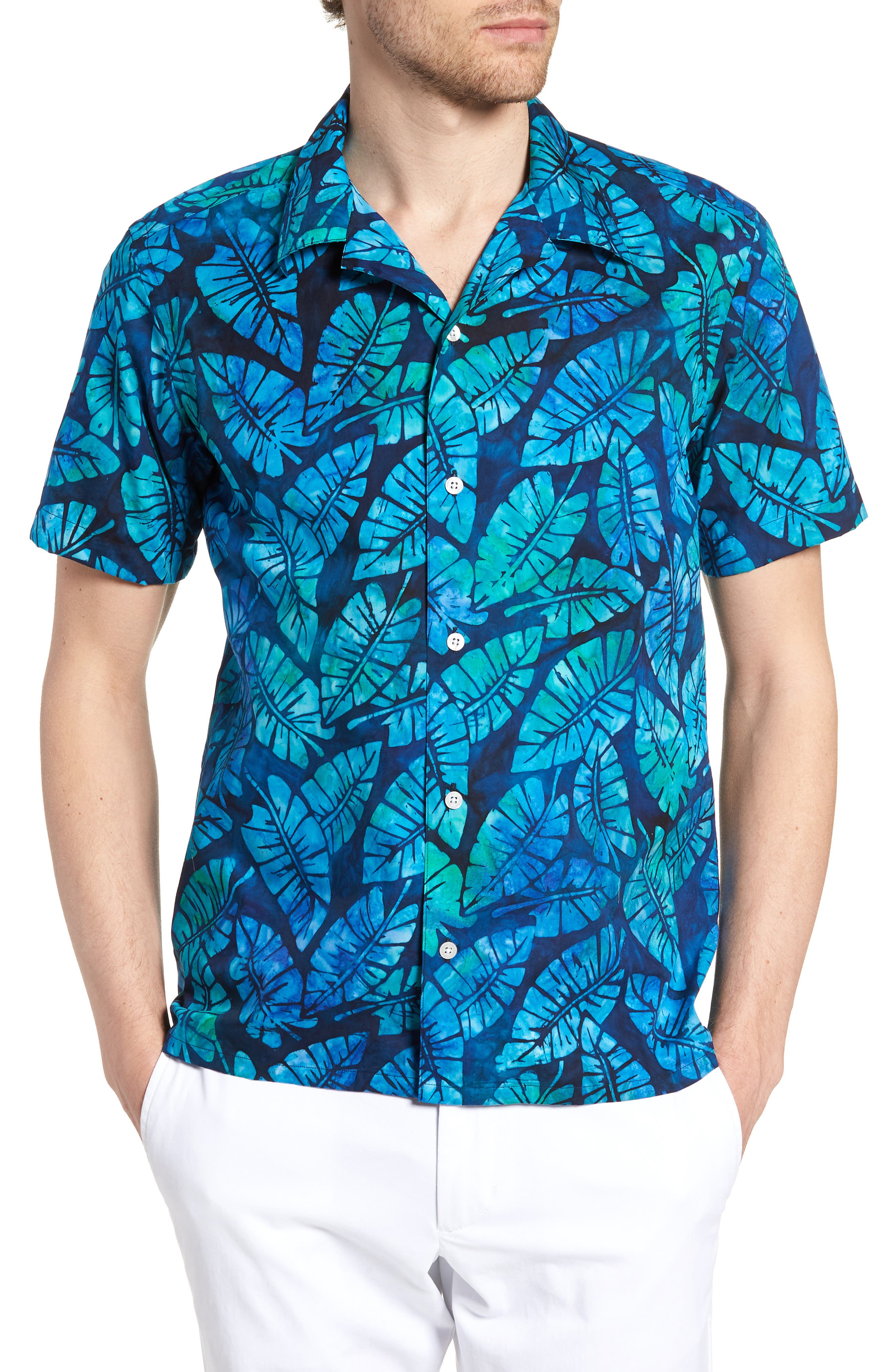 Kailua Trim Fit Print Sport Shirt,                             Main thumbnail 1, color,                             GREEN