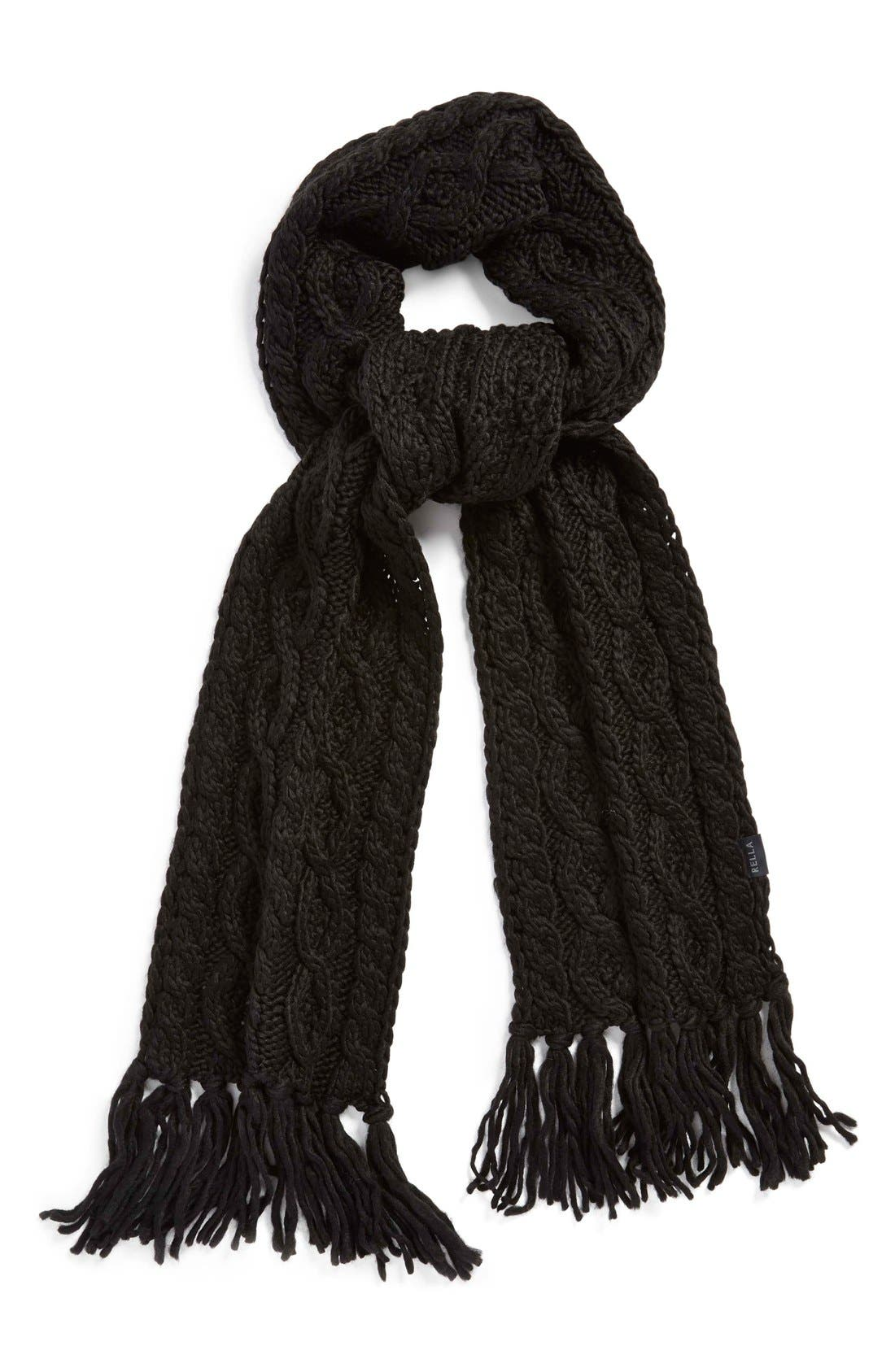 'Betto' Cable Knit Merino Wool Blend Scarf, Main, color, 001