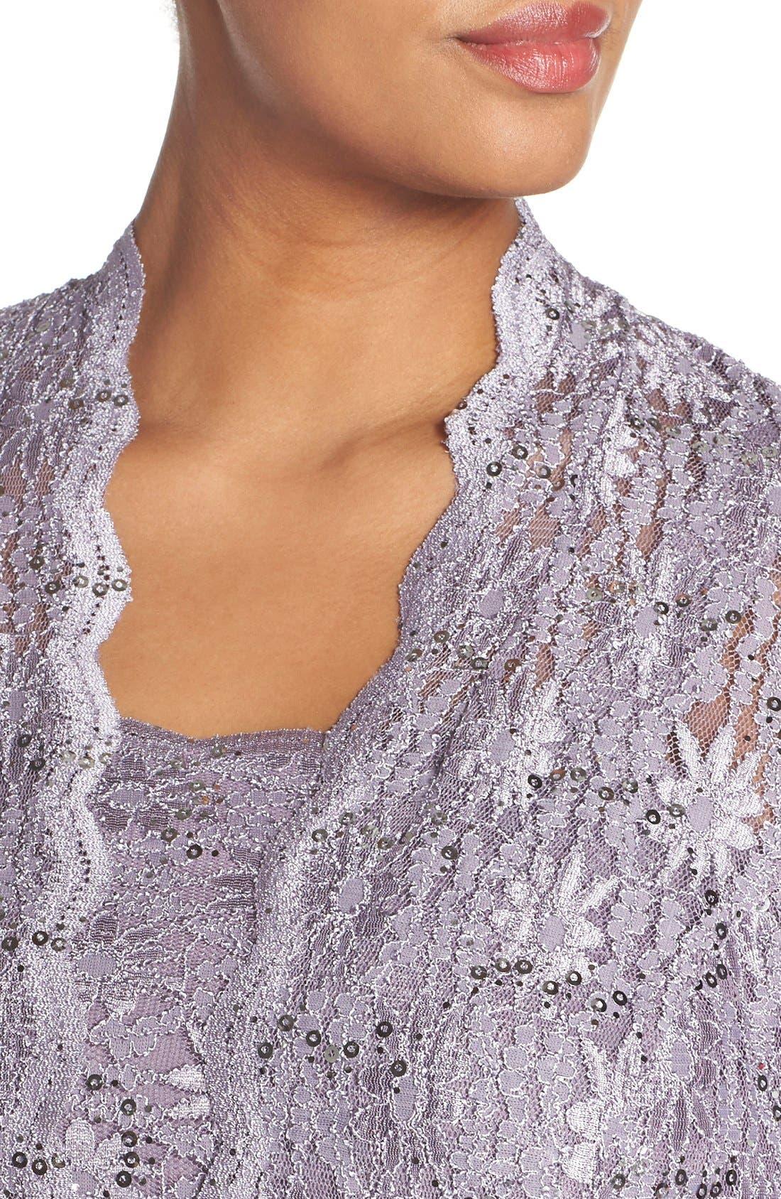 Alex Evening A-Line Gown & Lace Jacket,                             Alternate thumbnail 4, color,
