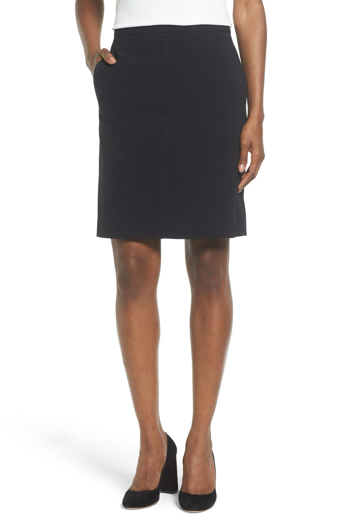 Two-Pocket Suit Skirt,                             Main thumbnail 1, color,                             ANNE KLEIN BLACK