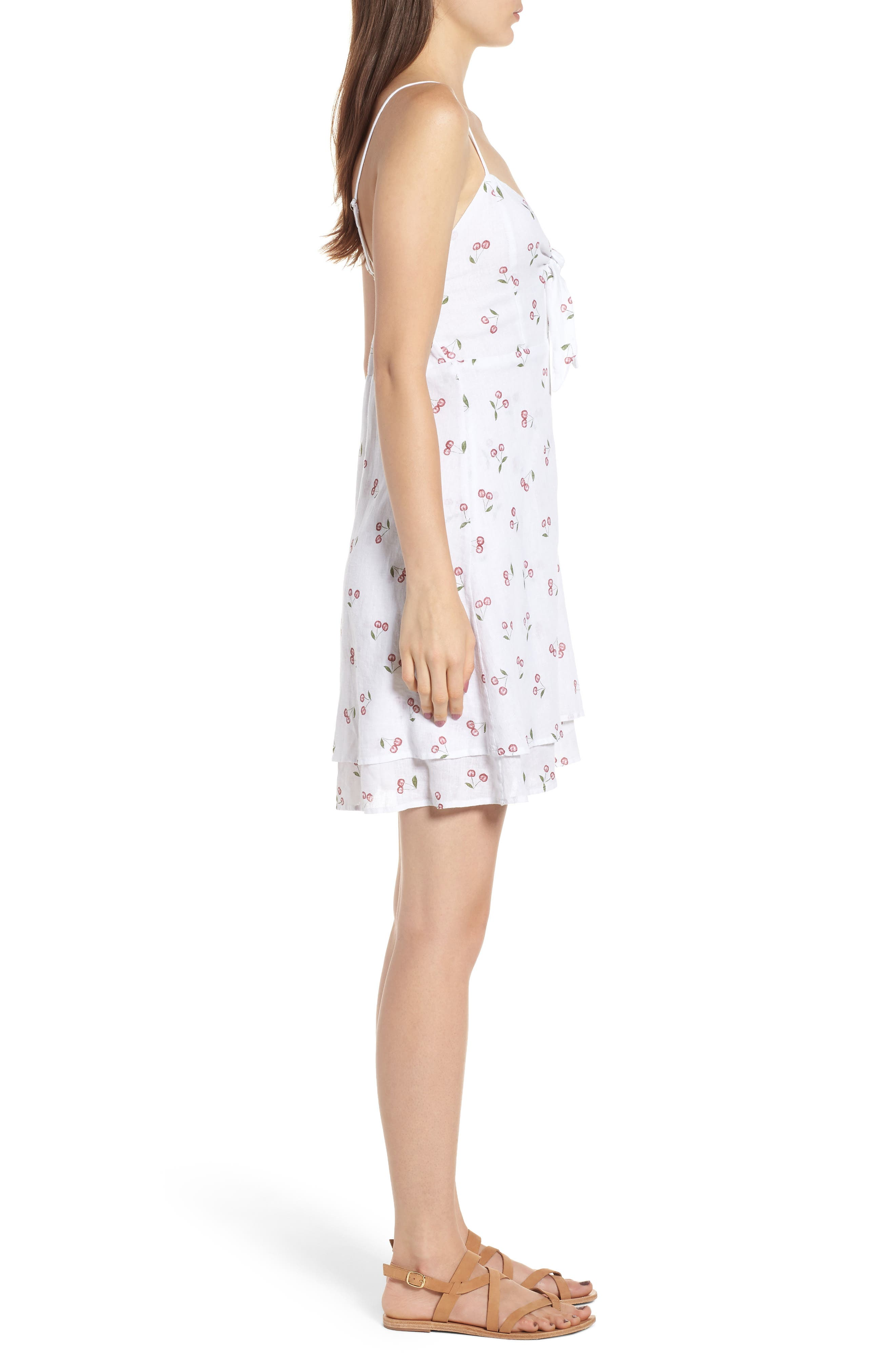 August Daisy Tie Front Dress,                             Alternate thumbnail 3, color,                             WHITE CHERRIES