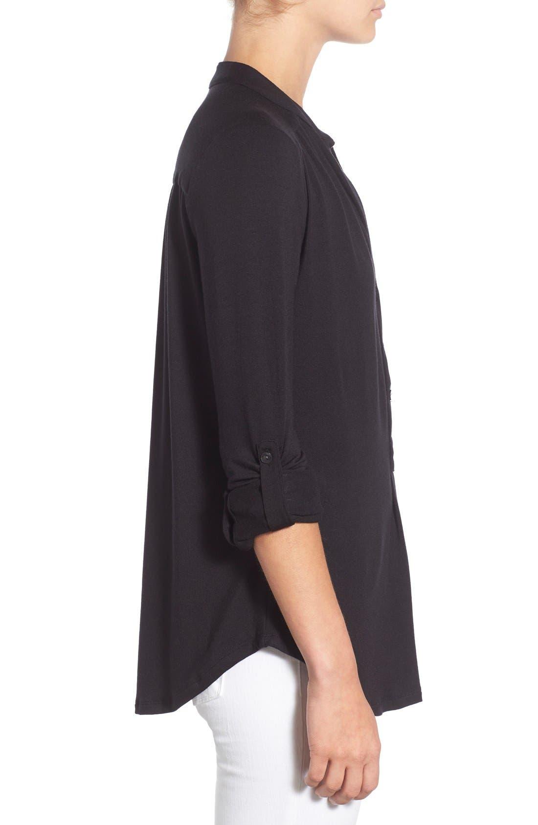 'Elena' Roll Tab Sleeve Top,                             Alternate thumbnail 3, color,                             BLACK