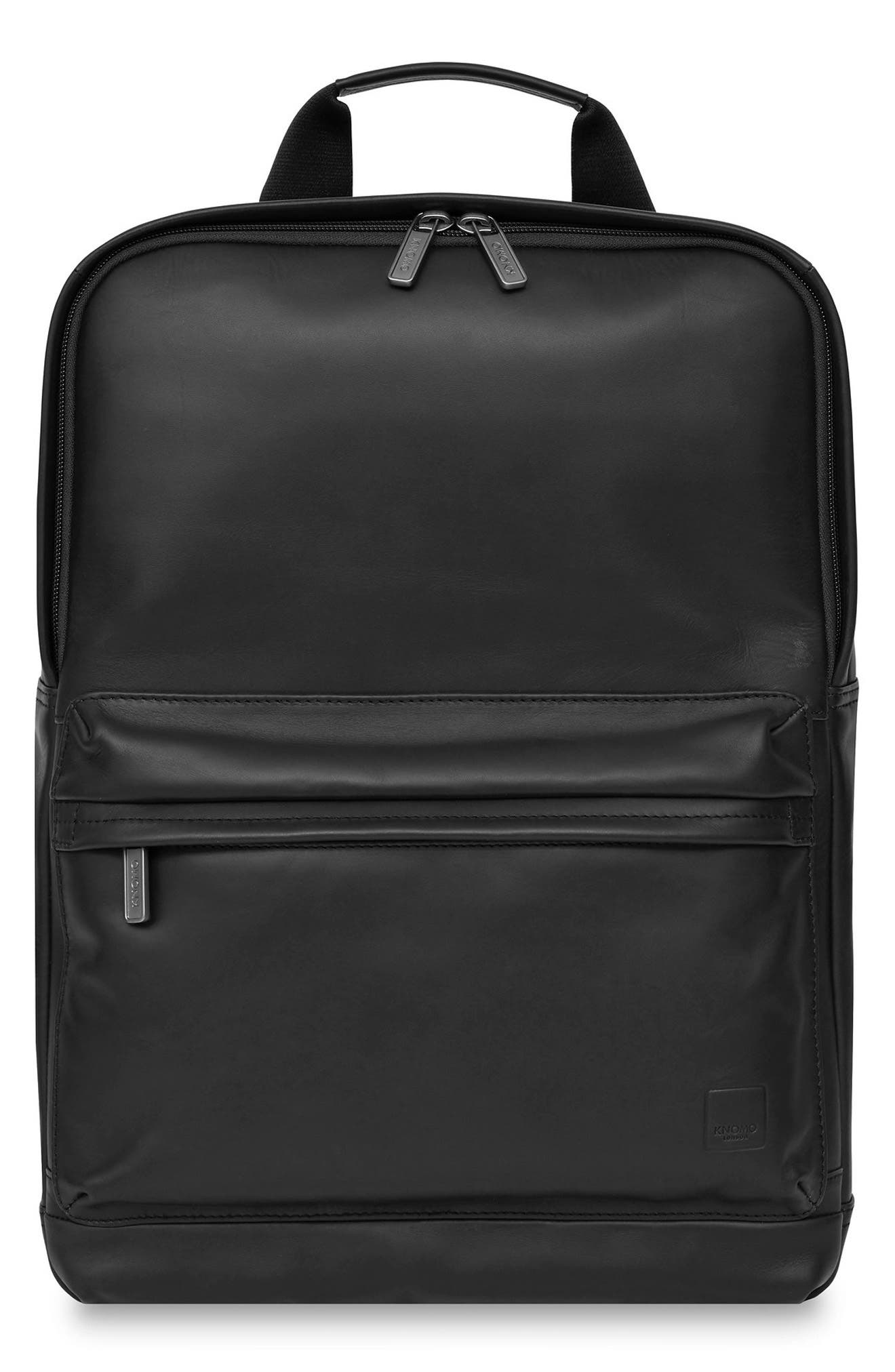 Knomo Barbican Brackley Leather Backpack,                             Main thumbnail 1, color,                             BLACK